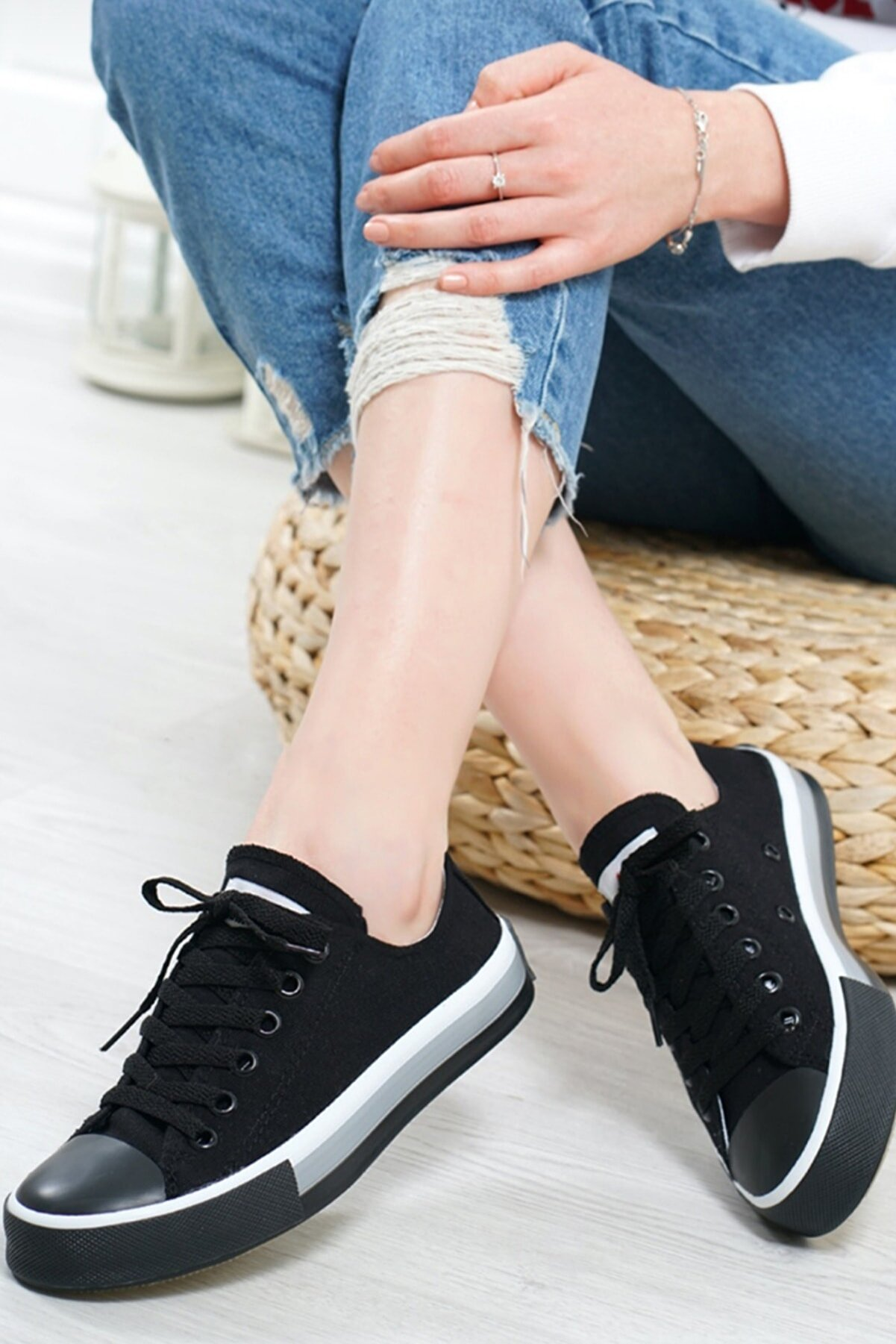 Ayakkabı Kozası Kadın Siyah Günlük Spor Ayakkabı Bez Yürüyüş Ayakkabısı Triko Sneaker