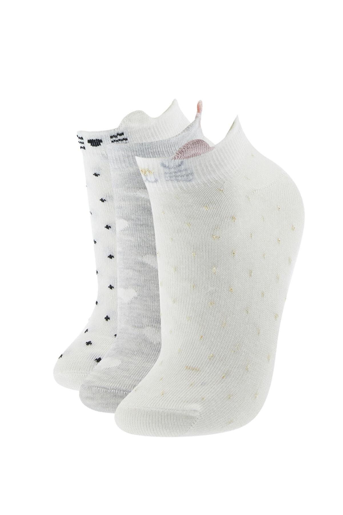 Defacto Kadın Ekru Desenli Patik Çorap 3'lü