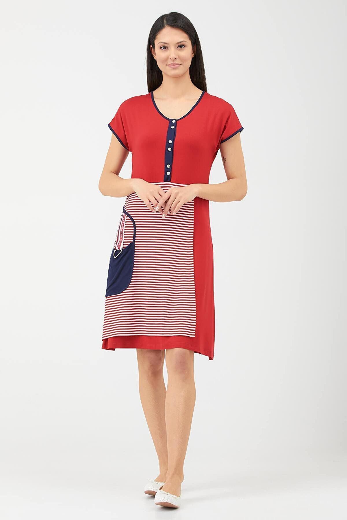 Sementa Kadın Patlı Cep Detaylı Marine Elbise - Kırmızı
