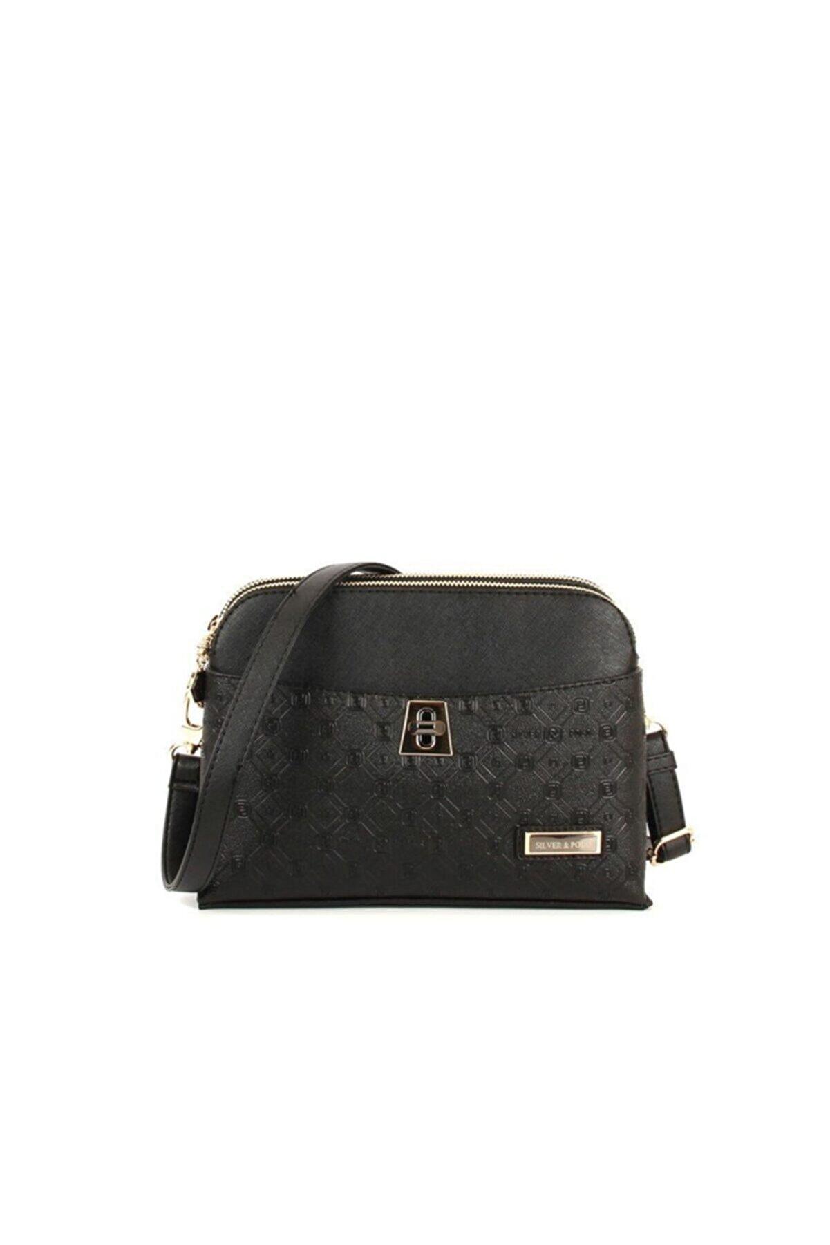 Silver Polo Siyah-mat Siyah Kadın Omuz Çantası 1sılw2019495