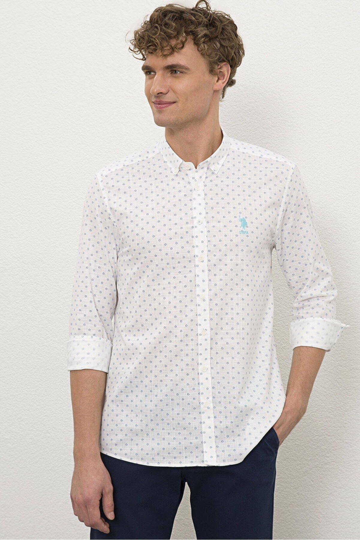 US Polo Assn Beyaz Erkek Gömlek