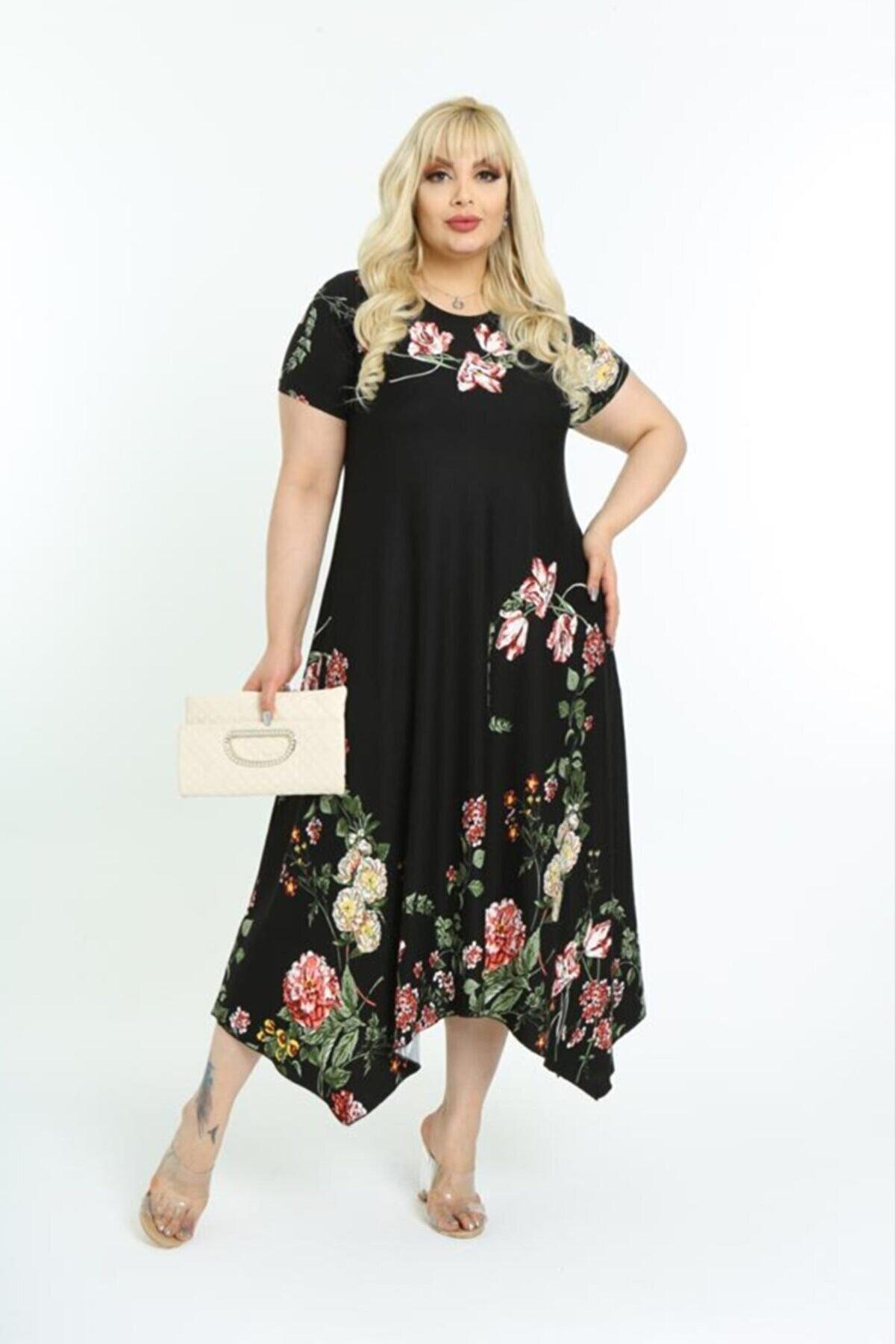 HERAXL Kadın Siyah Asimetrik Kesim Çiçek Desenli Büyük Beden Elbise