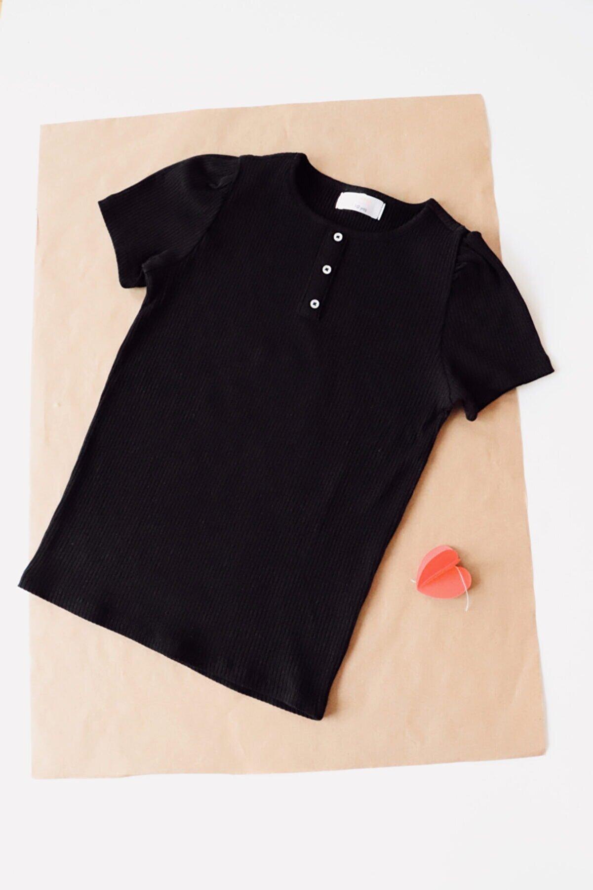 CARNA DESİGN Çocuk Siyah Kısa Kollu T-shirt
