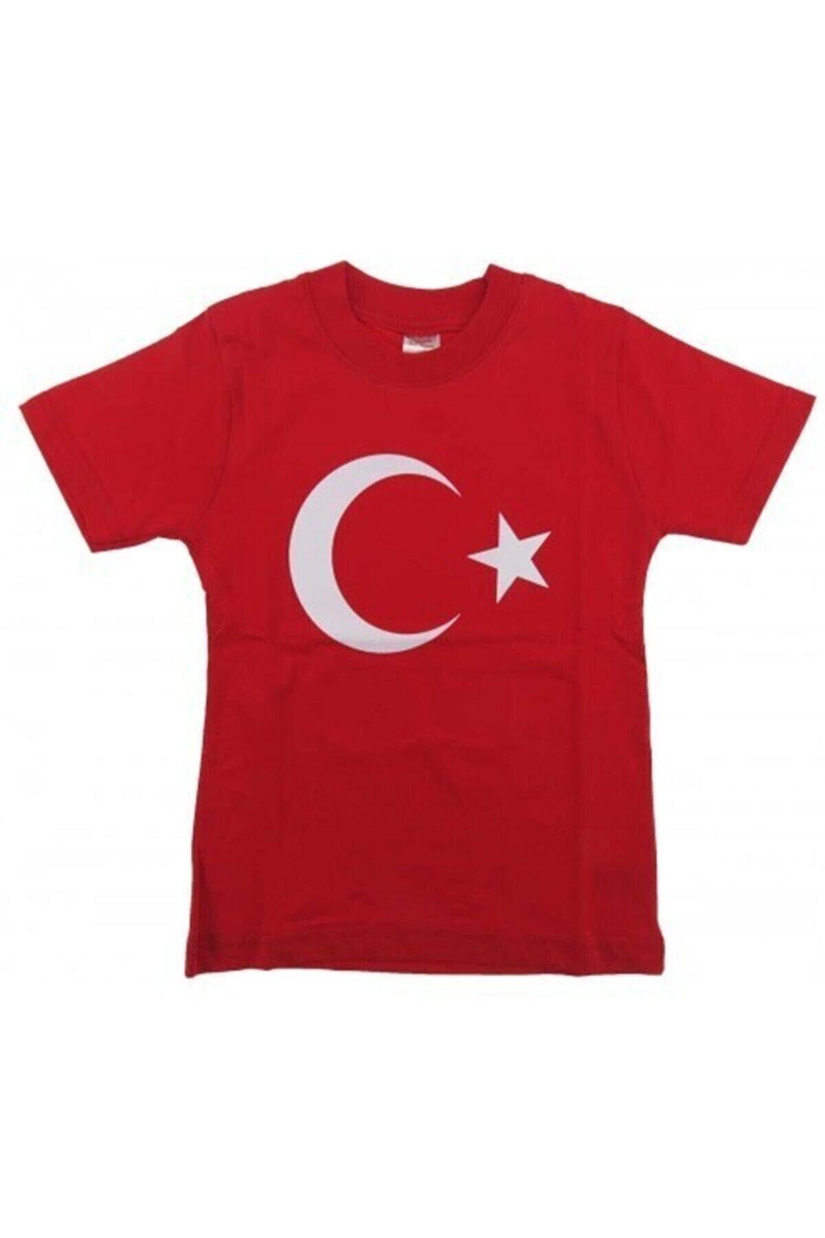 ŞİMŞEKOĞLU Çocuk Kırmızı Ay Yıldız Türk Bayraklı T-shirt