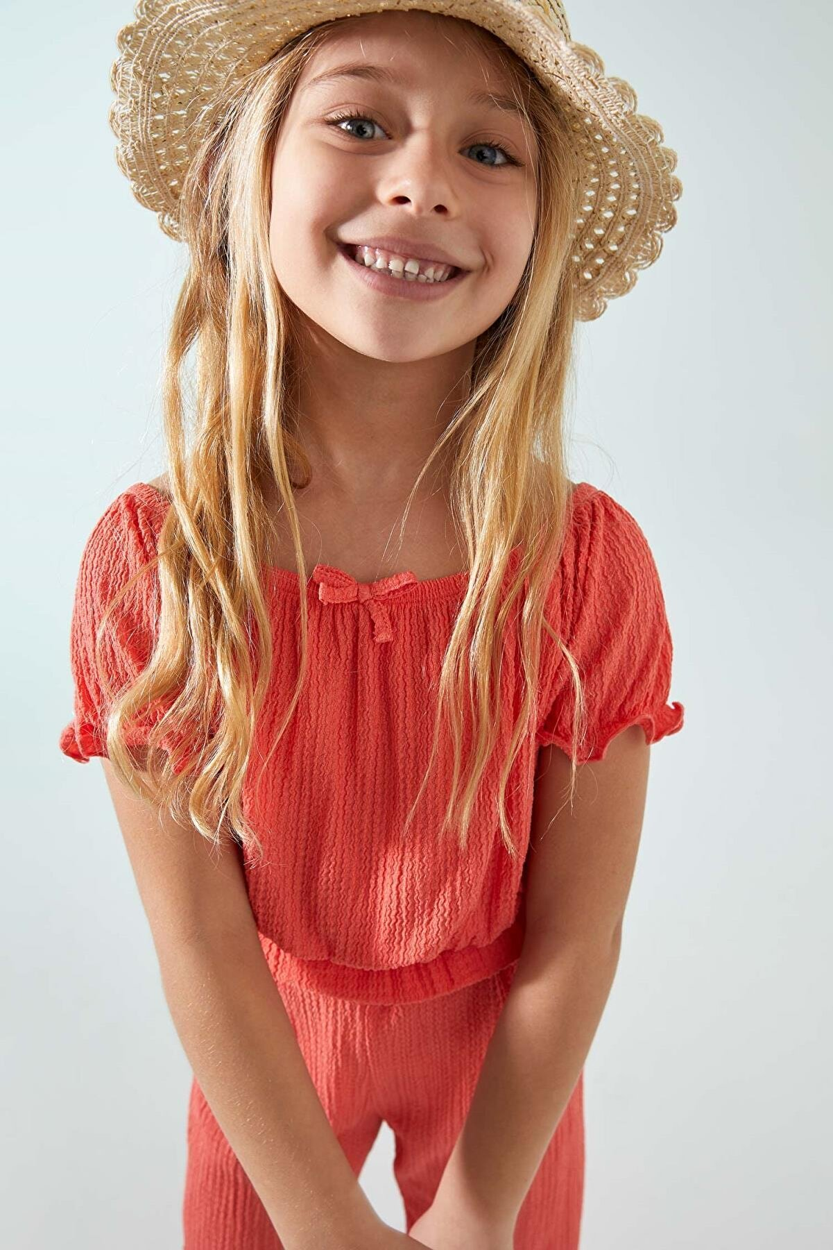 Defacto Kız Çocuk Fiyonk Detaylı Kısa Kol Tişört