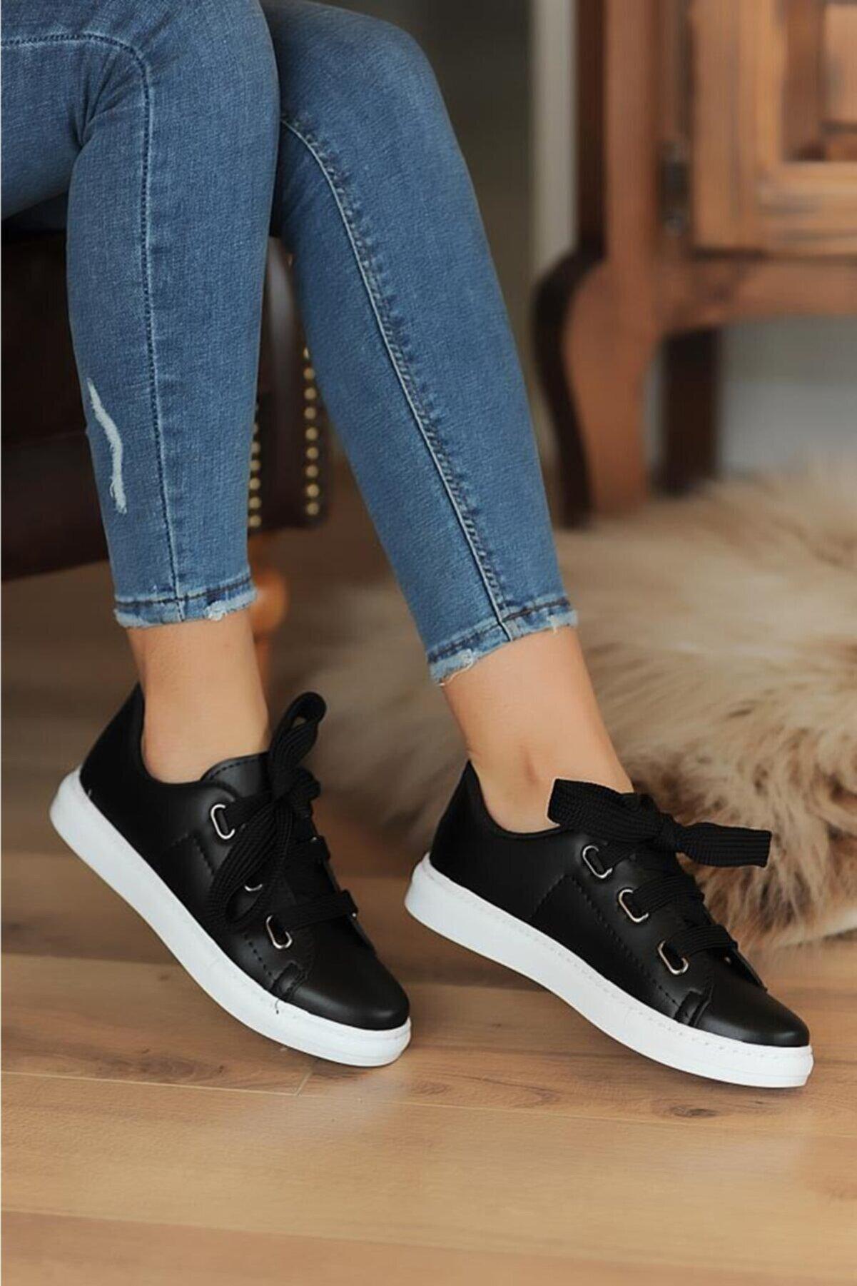 Pembe Potin Siyah Kadın Casual Ayakkabı A320-20