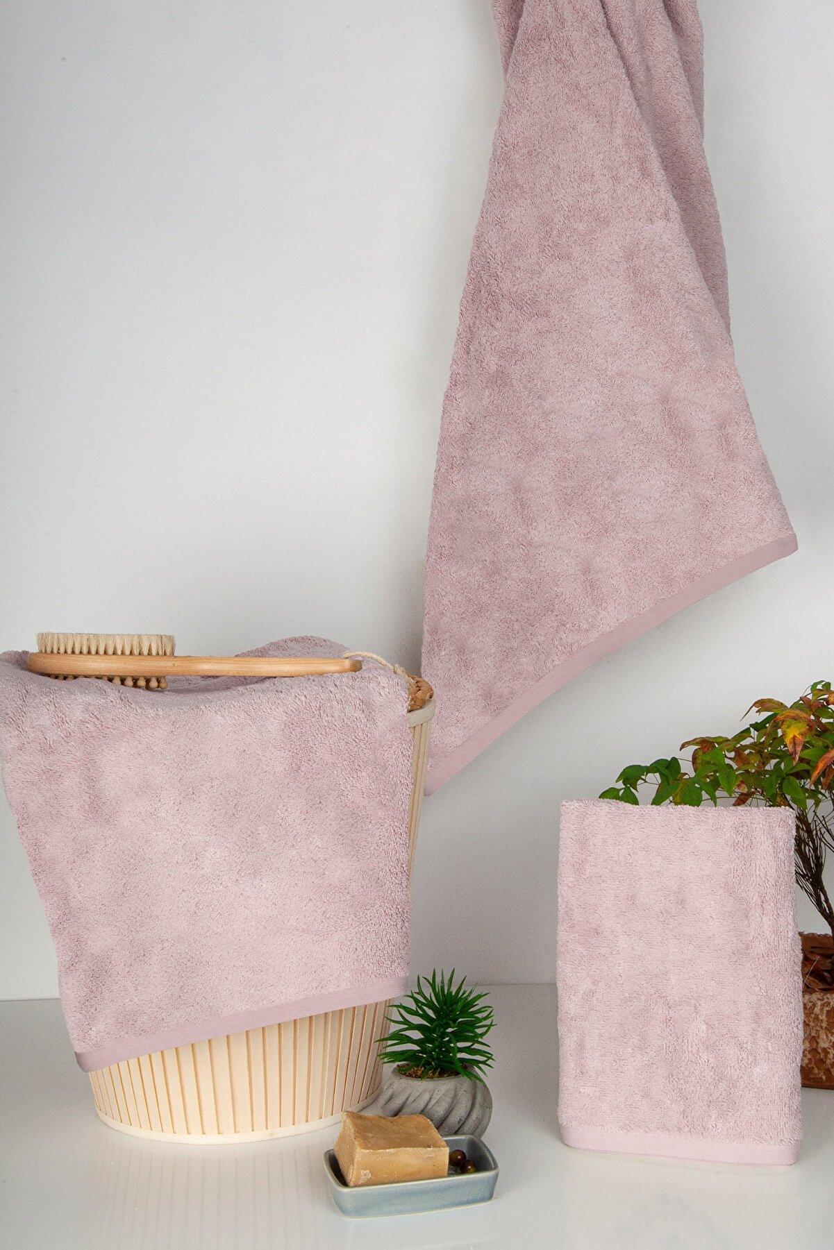 Nazik Home Pamuk 3 Lü Havlu Set (el + Yüz + Banyo Havlusu) %100 Pamuk Pudra Renk