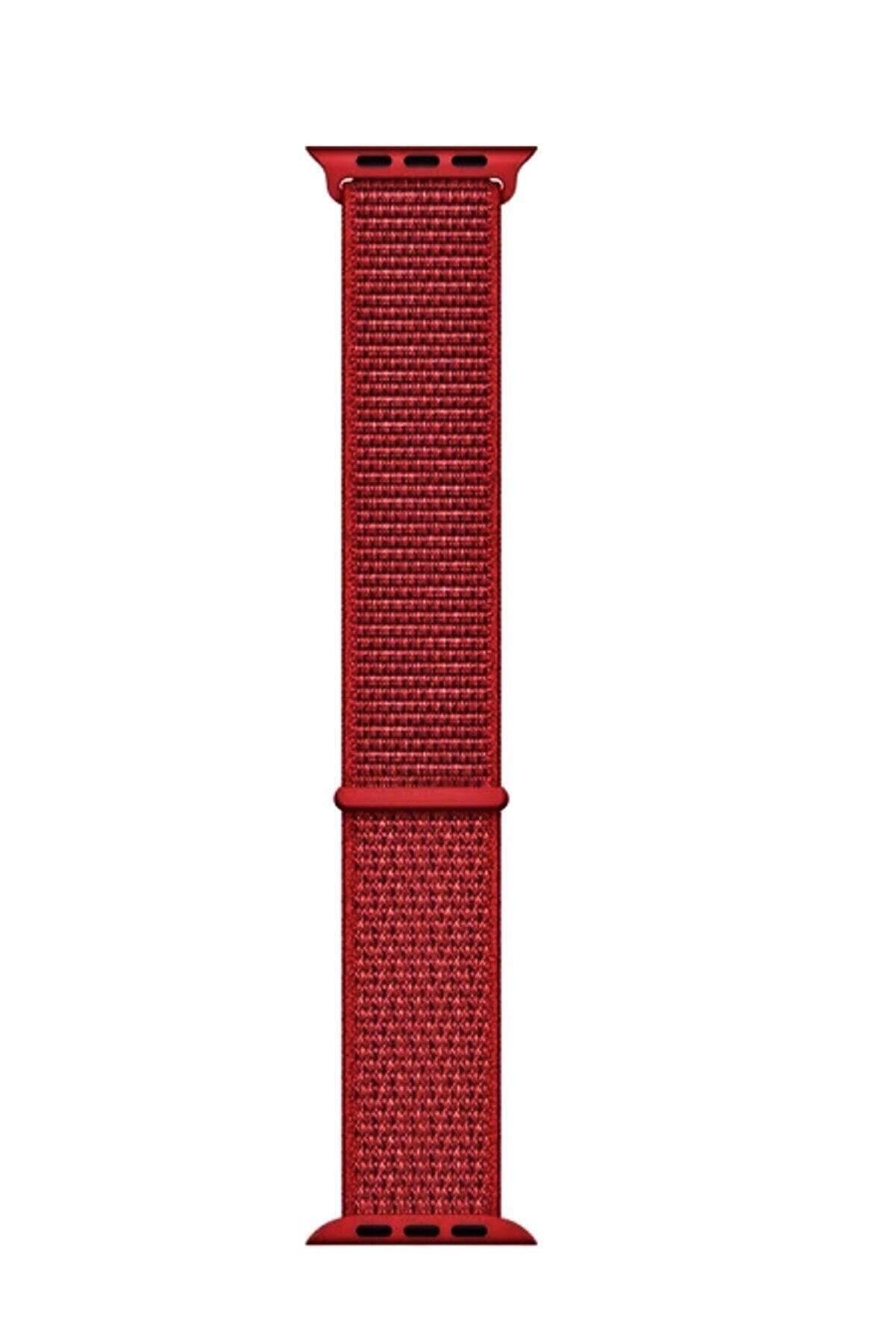 Robotekno Kırmızı Apple Watch Uyumlu Dokuma Kordon Kayış - 38mm 40mm