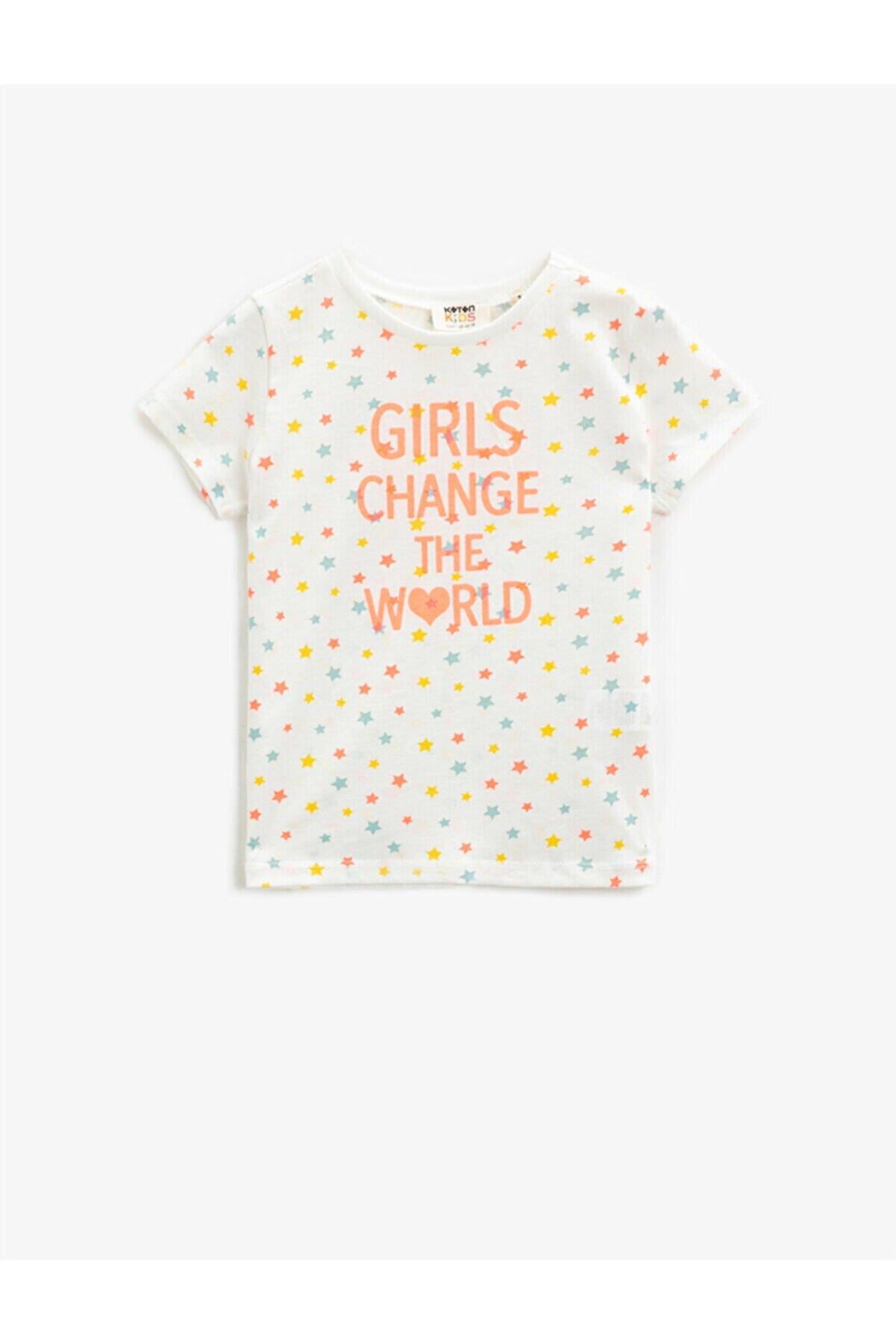 Koton Kız Çocuk Ekru Yazılı Baskılı T-Shirt