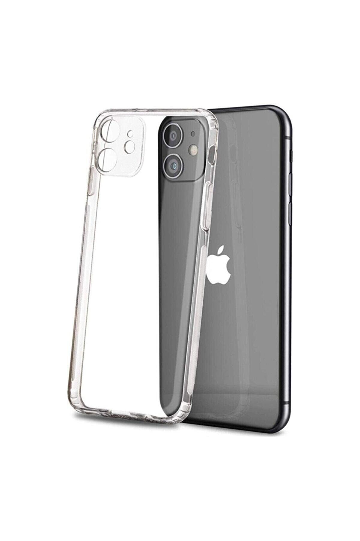 KAPAKCIMIZ Apple Iphone 12 6.1 Kılıf Kamera Korumalı Tıpalı Şeffaf Kristal Silikon Kapak
