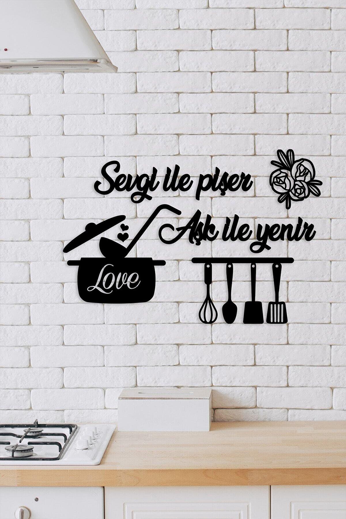 Tomruk Magnet Evi Siyah Mutfağım Sevgiyle Pişer Duvar Dekoru