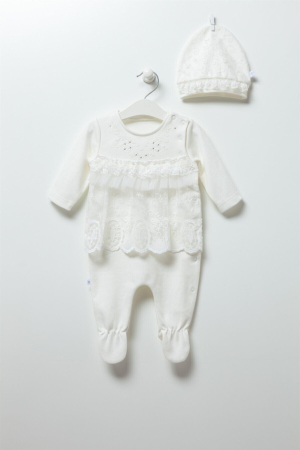 Caramell Kız Bebek Ekru Tulum