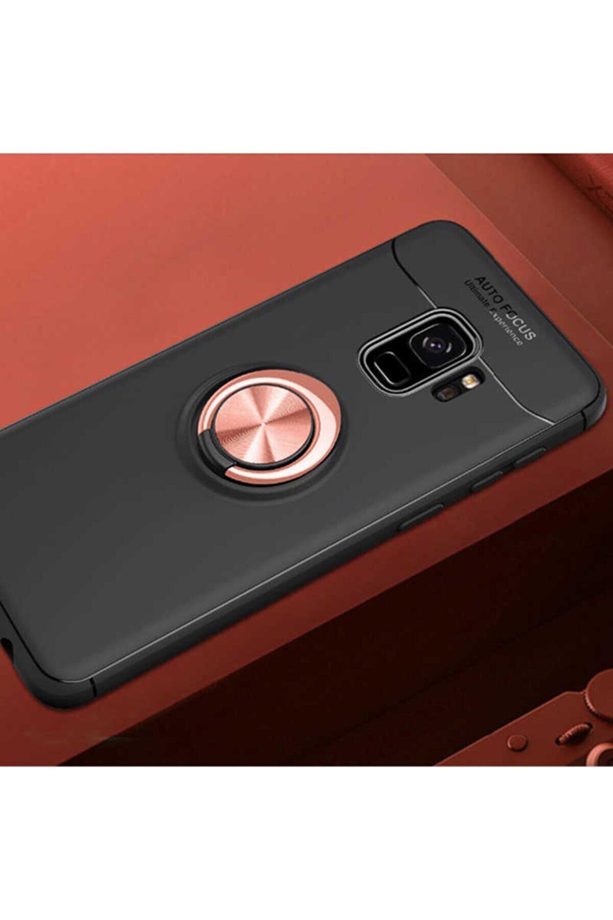 Samsung S9 Yüzüklü Standlı Nezih Case Silikon Kılıf (soft Tasarım) Siyah/rose Gold