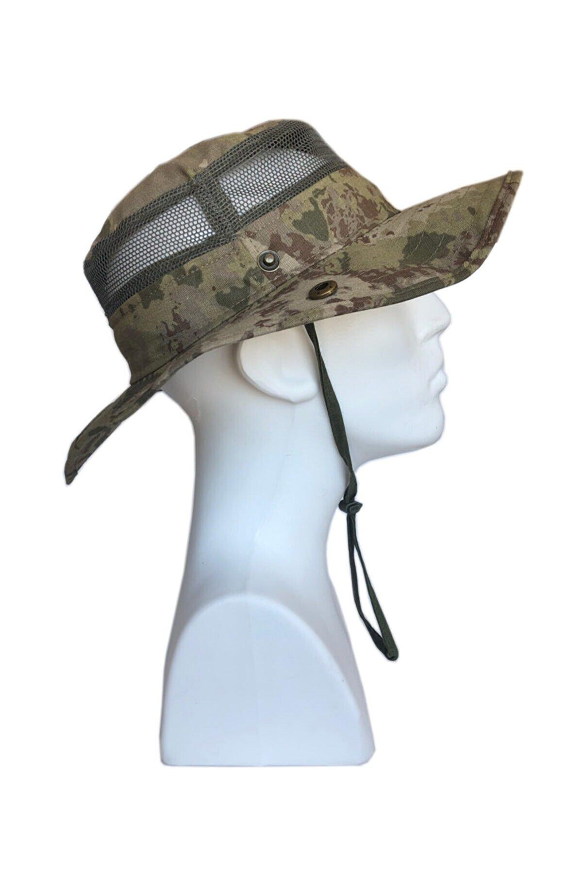 Flaş Askeri Malzeme Kamuflaj Desen Yazlık Katlanabilir Safari Fötr Şapkası