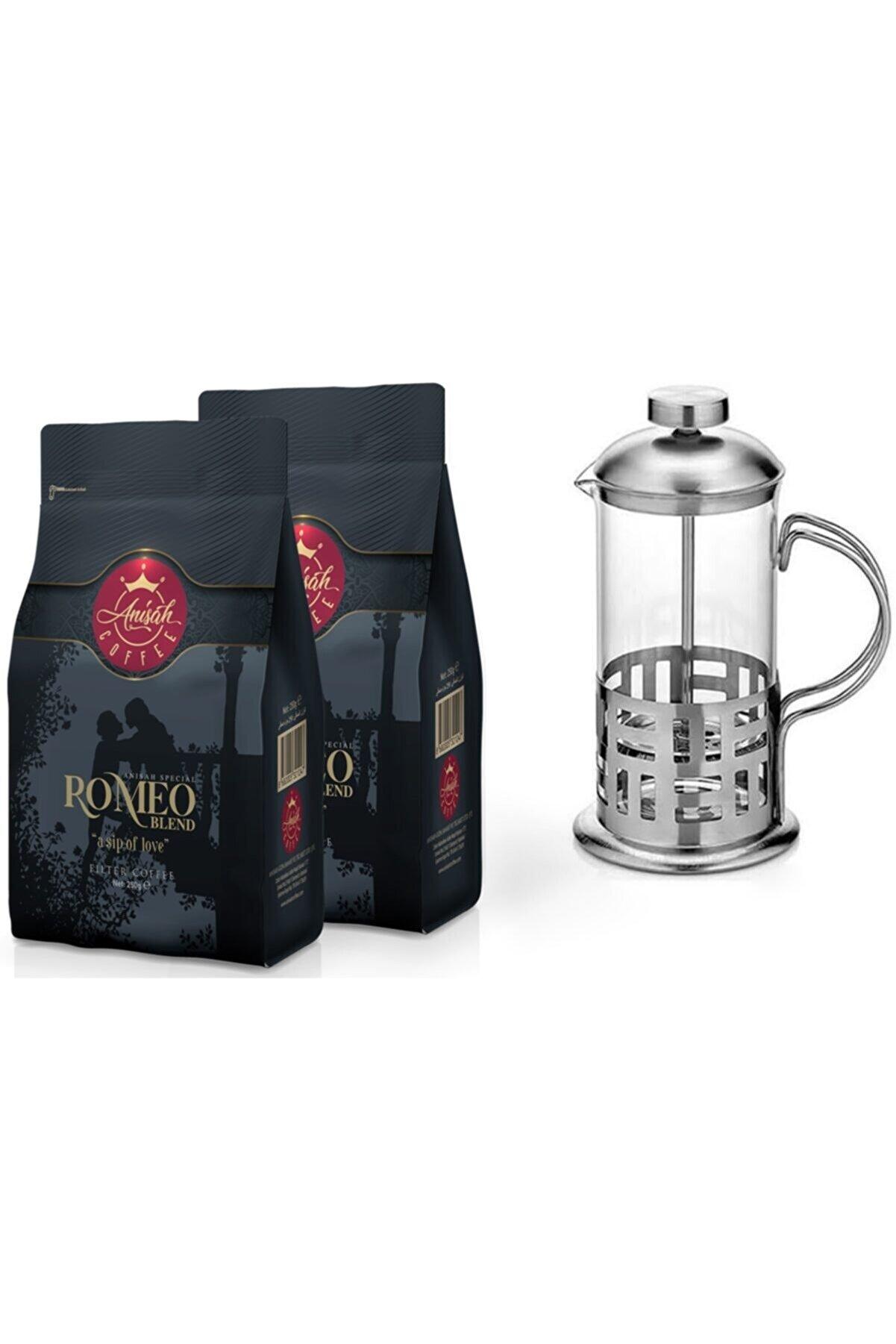 Anisah Coffee Filtre Kahve Romeo Blend Öğütülmüş - 350 ml French Press 2'li Paket (2*250 GR)