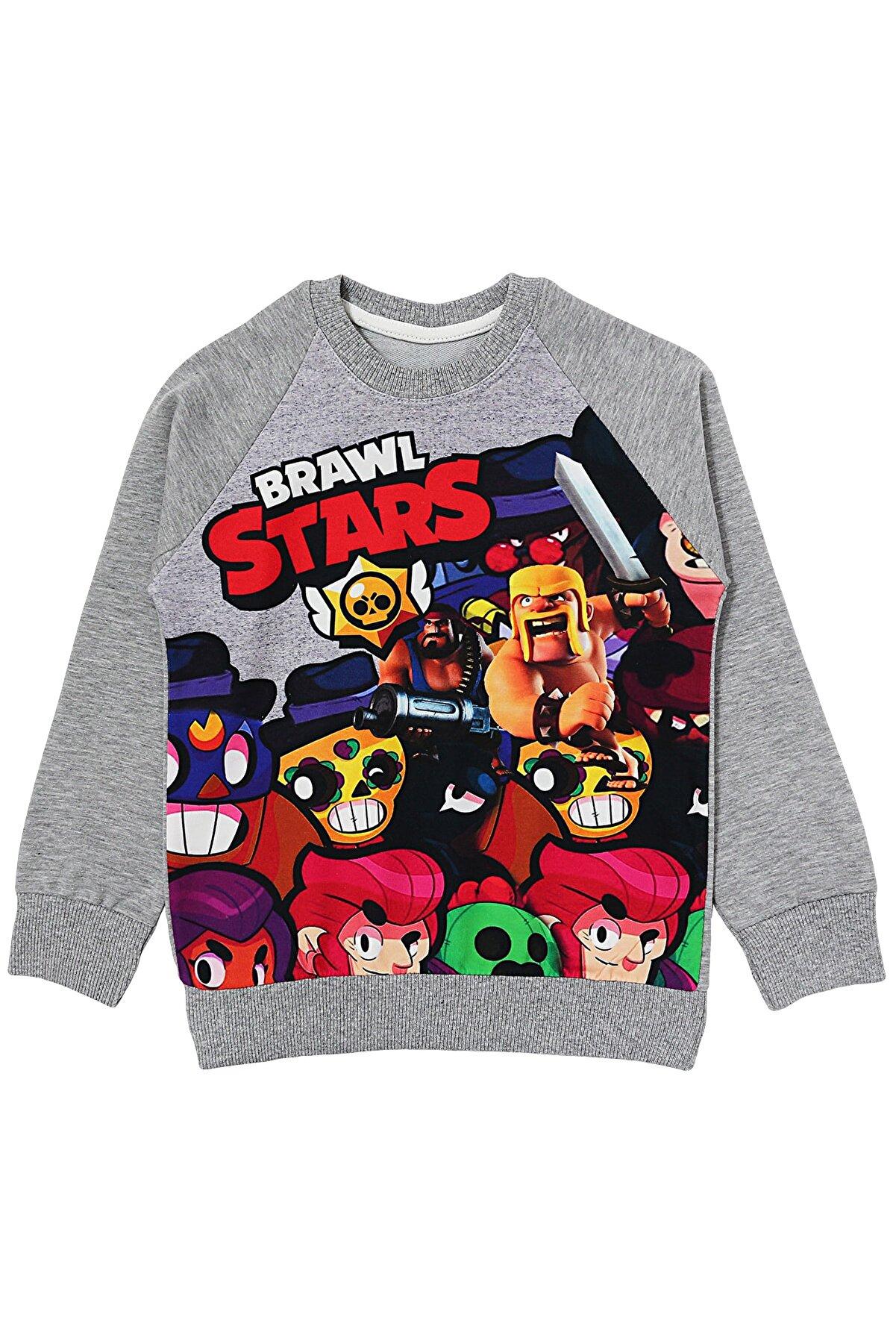 DobaKids Gri BRAWL STARS Erkek Çocuk Sweatshirt