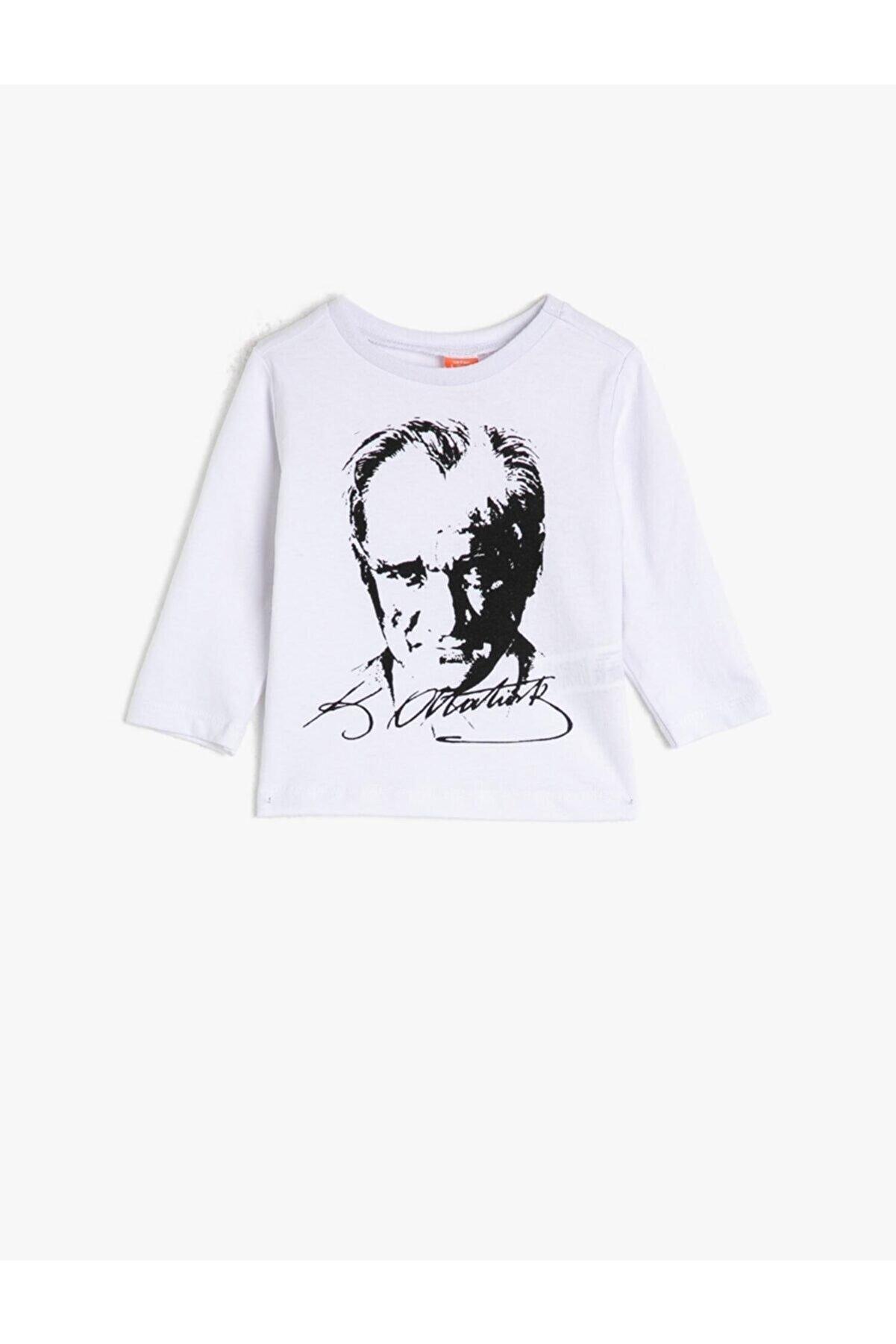 Koton Erkek Bebek Bebek Pamuk Uzun Kollu Atatürk Baskılı Tişört