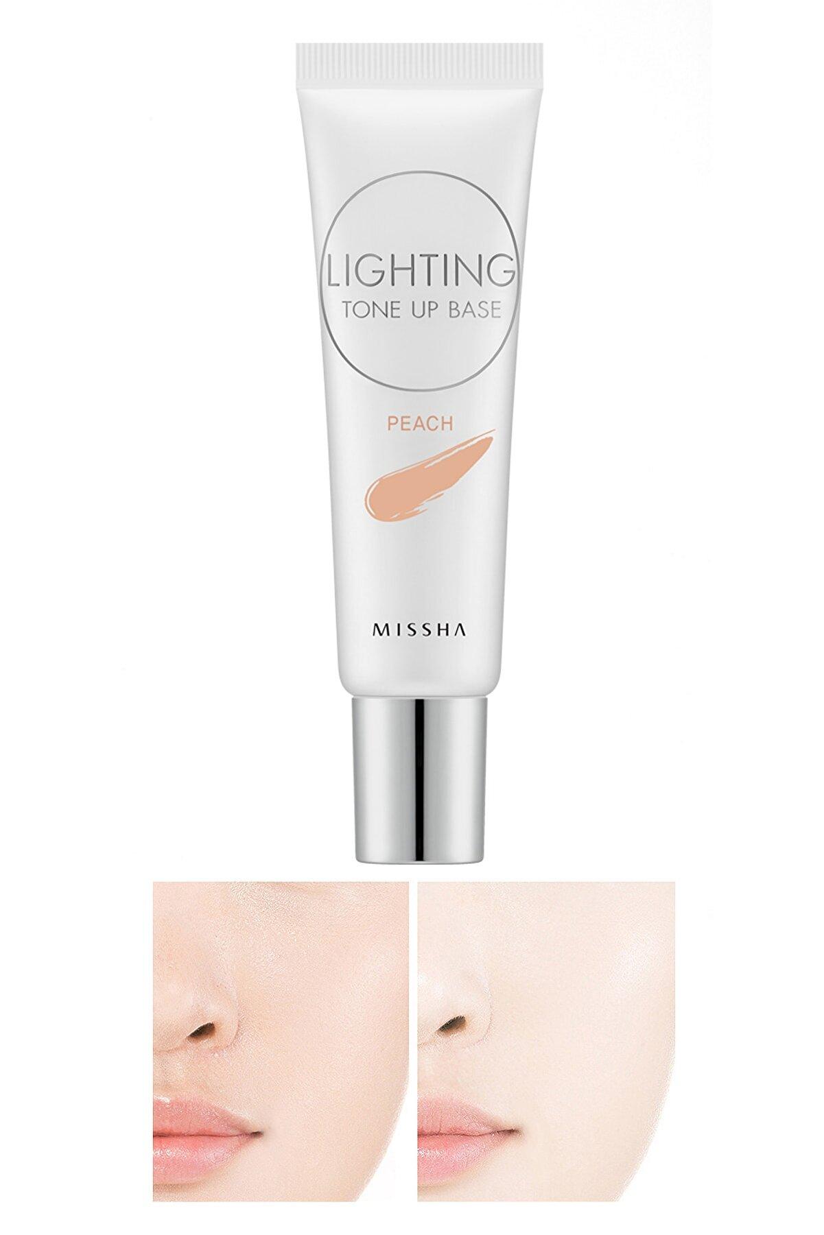 Missha Solgun Ciltler için Aydınlatıcı Şeftali Baz 20ml Lighting Tone Up Base SPF30 PA++ (Peach)
