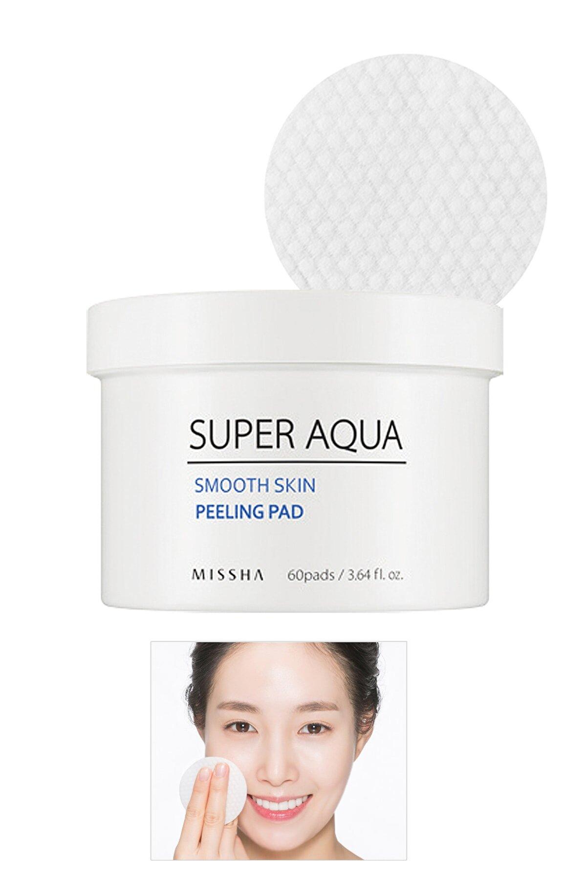 Missha AHA BHA İçeren Pürüzsüz Görünüm Sunan Günlük Peeling Ped (60Adet) Super Aqua Smooth Peeling Pad