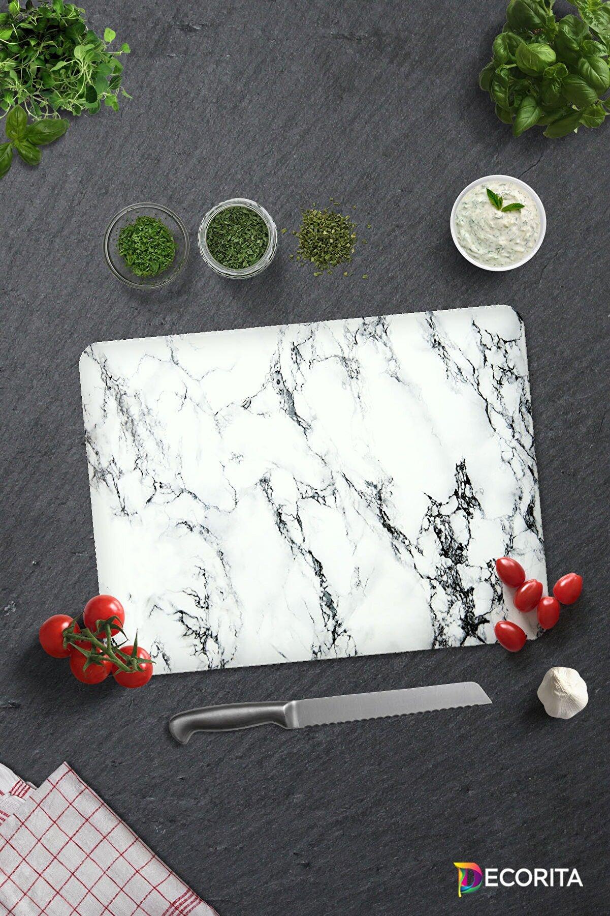 Decorita Cam Kesme Tahtası Cam Kesim Tablası Beyaz Mermer Görünümlü 30cm x 40cm
