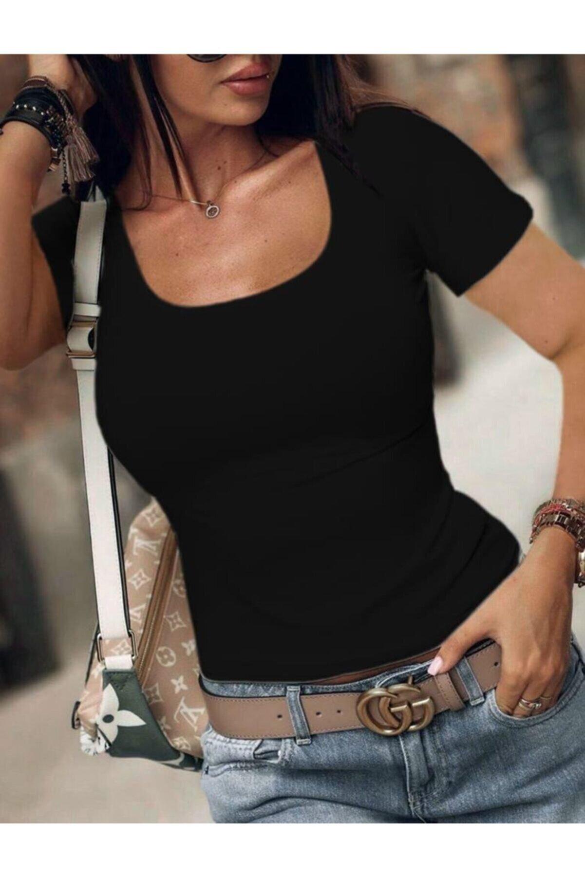 JANES U Yaka Viskon Kumaş Bluz 55cm