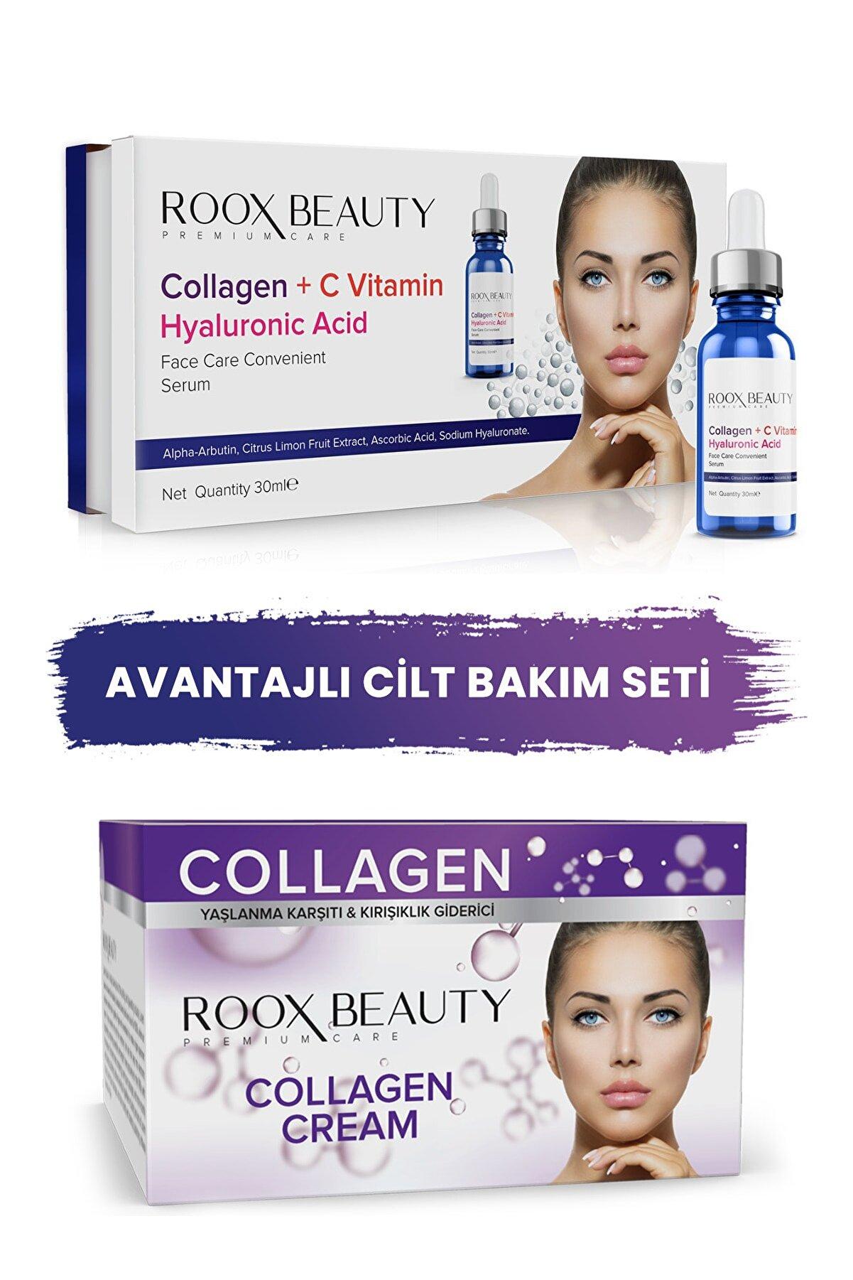 Roox Beauty Kolajen - C Vitamini - Hyaluronik Serum Ve Kolajen Gece Kremi 2'li Set