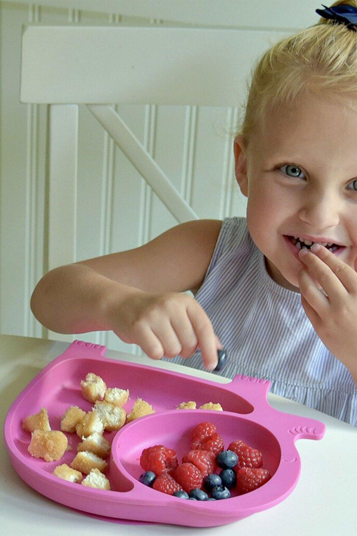 FERHOME Fil Model Mama Tabağı Seti Çocuk Yemek Bebek Mama Tabldot Bölmeli Tabak