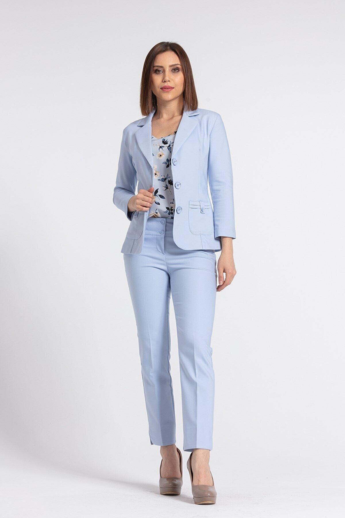 Jument Kadın Mavi Kalın Kemerli Süs Cepli Paçası Yırtmaçlı Ofis Kumaş Pantolon-
