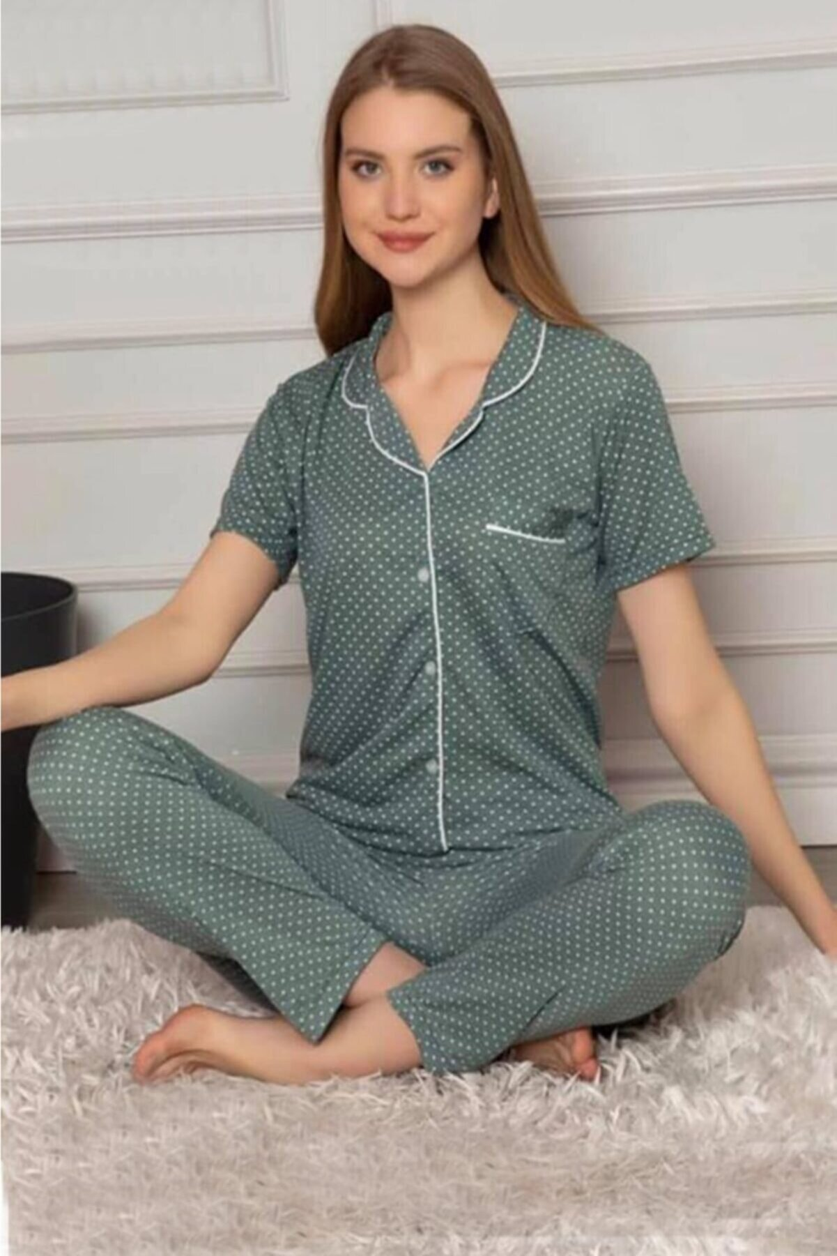 TAMPAP Kadın Puantiyeli Pijama Takımı Düğmeli Dvk-82