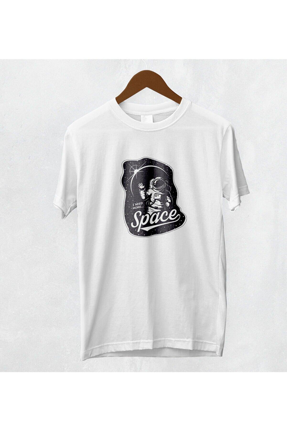 Coutoo I Need More Space Baskılı Beyaz Pamuk Polyester T-shirt