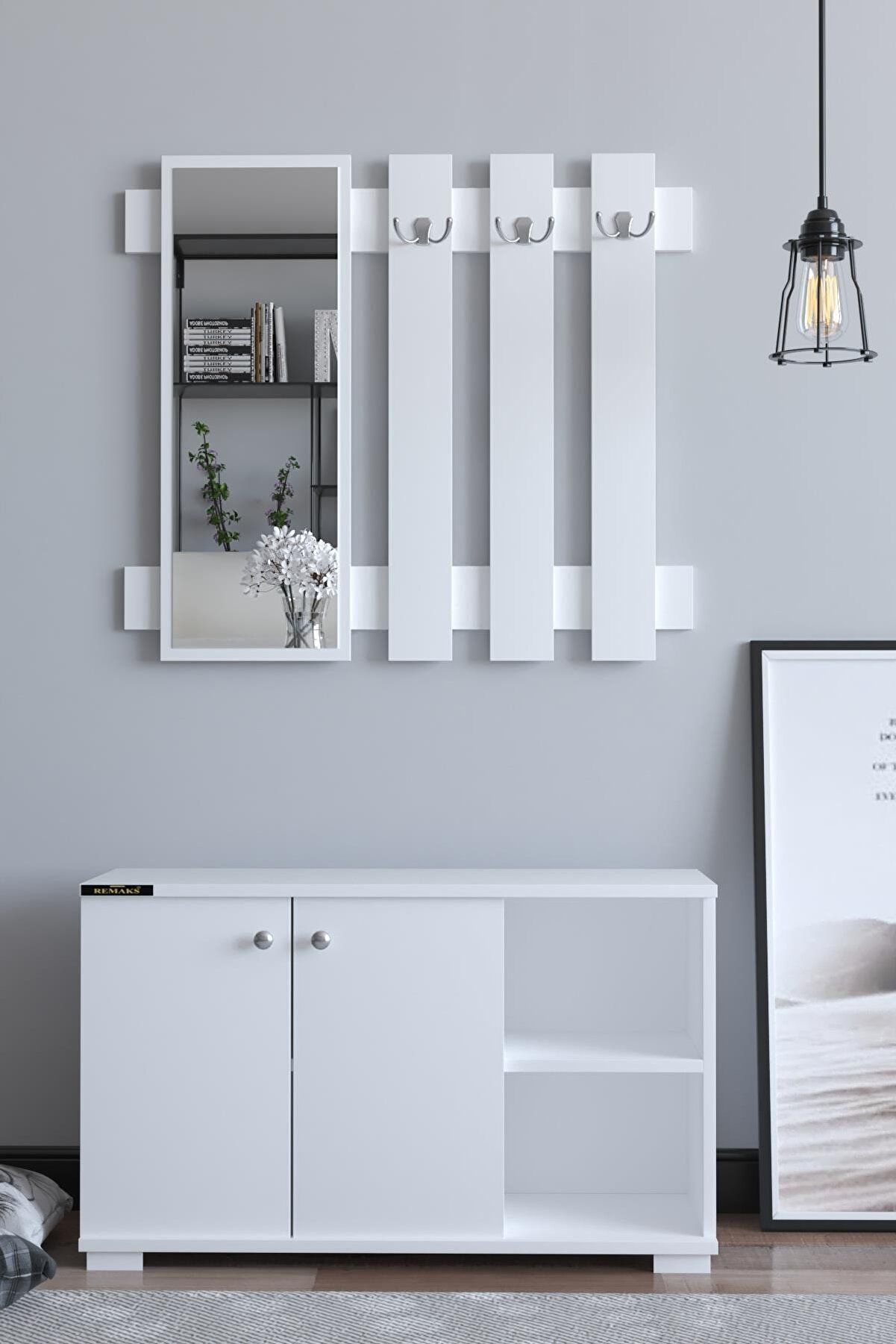 Remaks Plus Aynalı Vestiyer Ayakkabılık Portmanto Ve Duvar Askısı - Beyaz / Beyaz