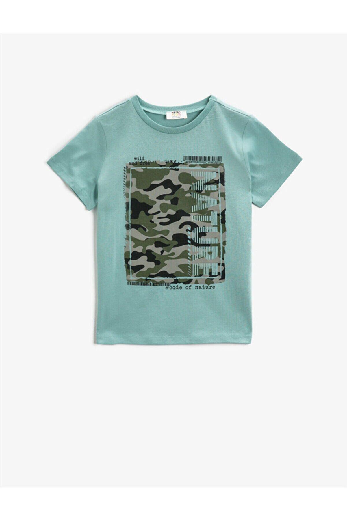 Koton Erkek Çocuk Ada Çayı Baskılı T-Shirt Bisiklet Yaka Pamuklu