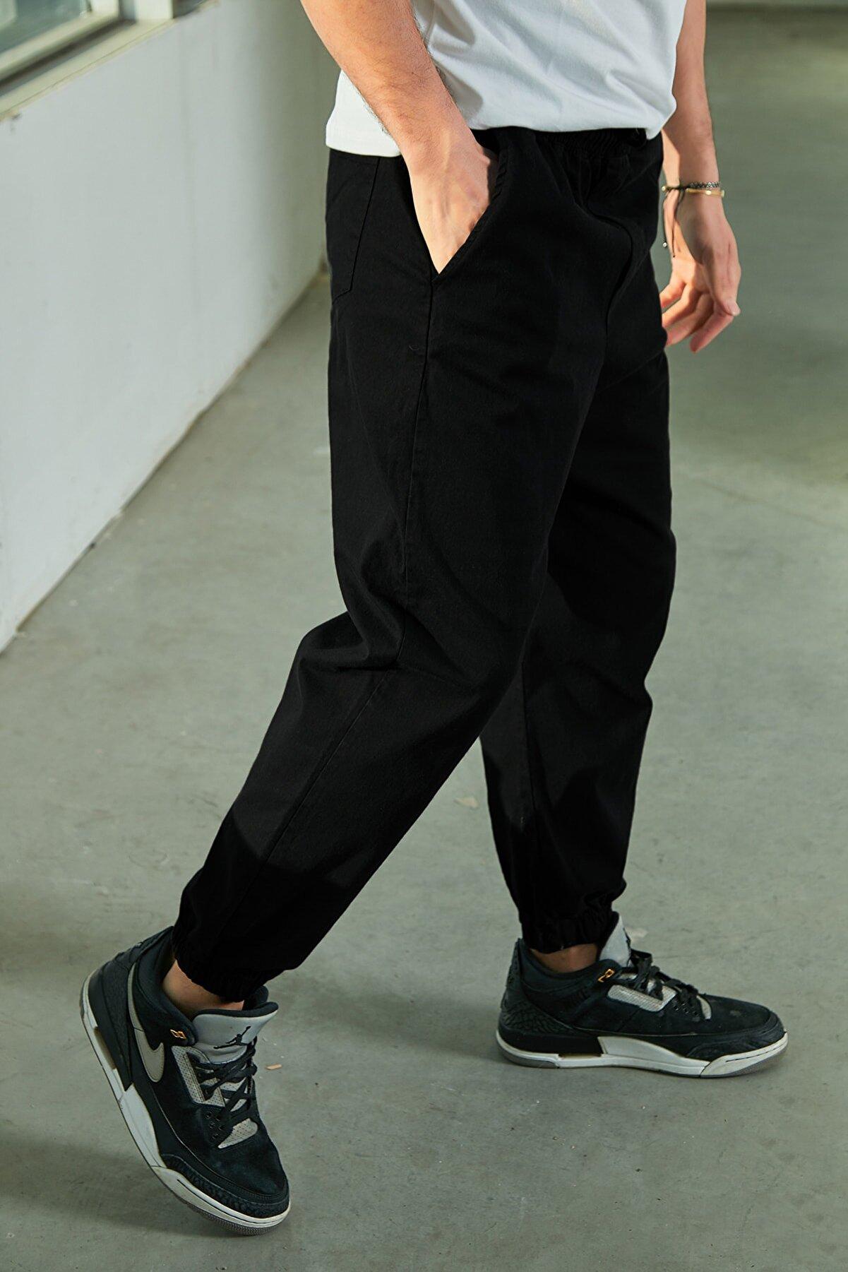 Sateen Men Erkek Siyah Kanvans Jogger Pantolon