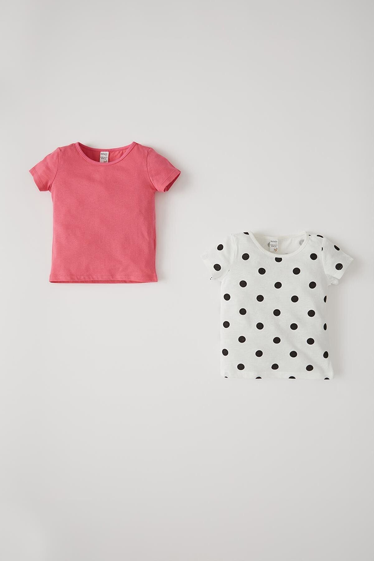 Defacto Kız Bebek Puantiye Desenli 2'li Kısa Kol Pamuklu Tişört