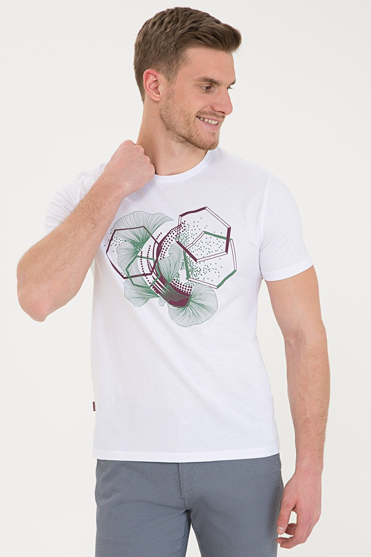Pierre Cardin Beyaz Slim Fit Bisiklet Yaka T-Shirt