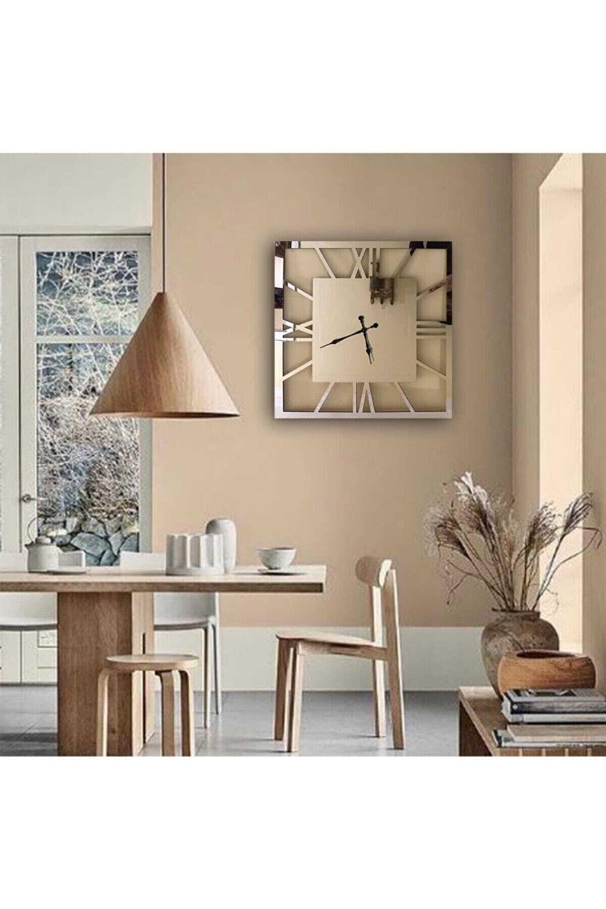 Oze Gümüş Aynalı Pleksi Duvar Saati
