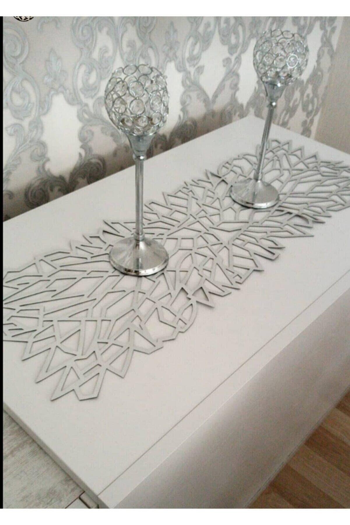 beyazıtshop Runner / Masa Örtüsü Dekoratif S.deri Gümüş ( 100 X 30 Cm )