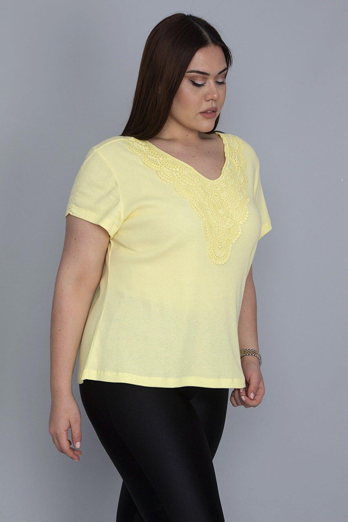 Şans Kadın Sarı Yaka Dantelli Likralı Bluz 65N23791