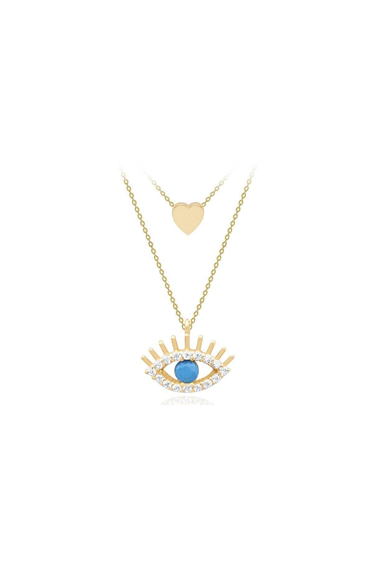 Diamond Line-Gülaylar Sarı Altın 14 Ayar Nazar Boncuğu Kolye