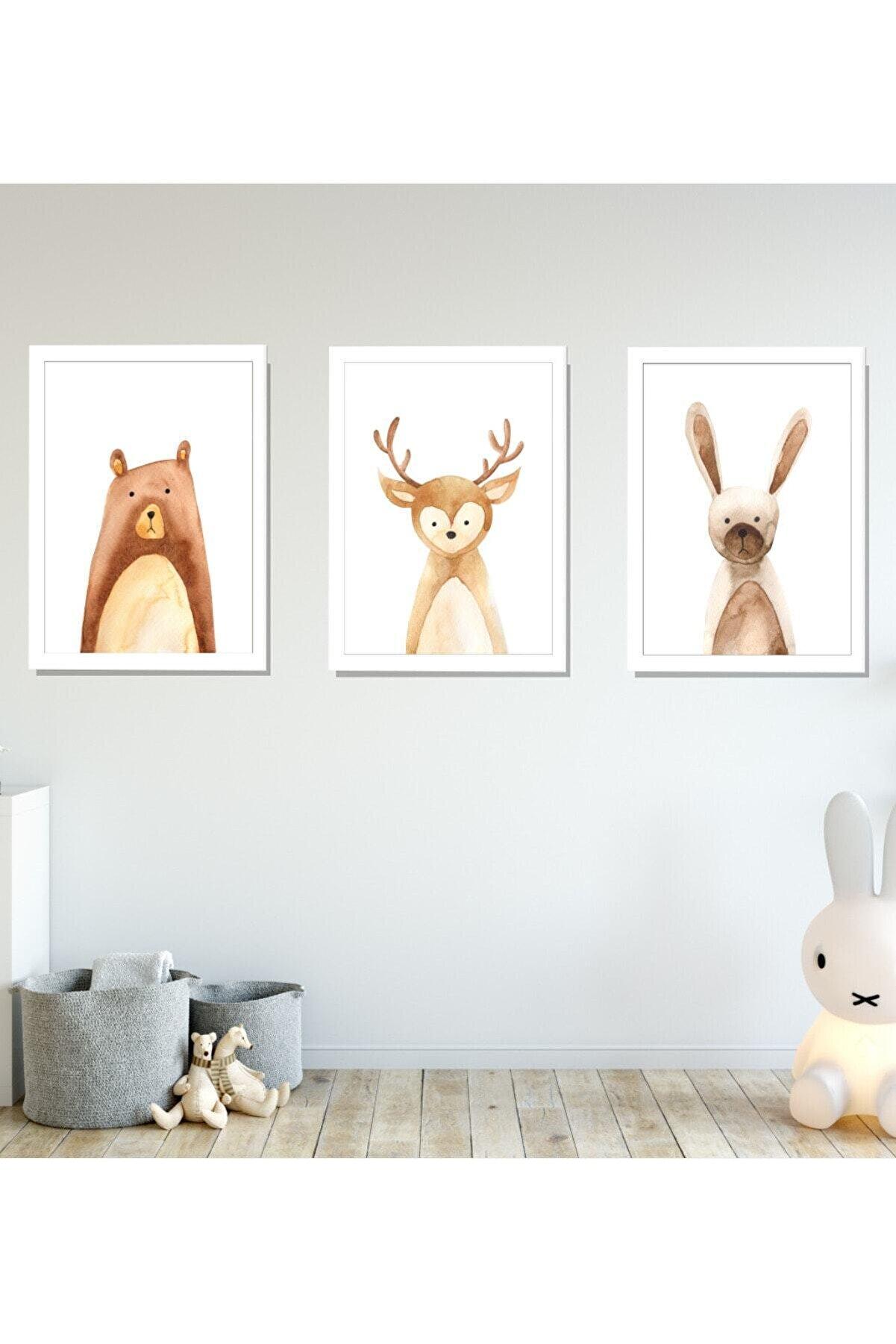 SUNNYFUNNYKIDS Bebek Çocuk Odası Tablo Nordic Ayı Geyik Tavşan 3'lü Çerçeveli Set 21x30 Cm Sfk4