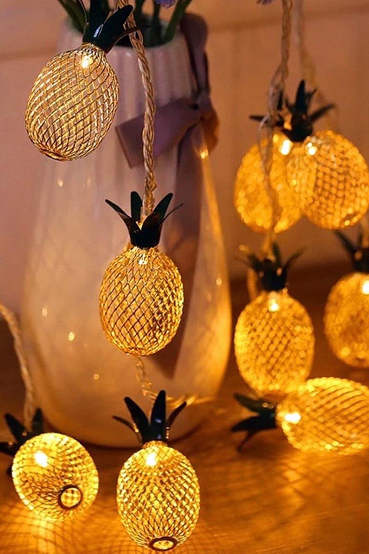 Chermik Işıklı Ananas Ampullü 2 Metre 10 Led Ananaslı Lamba Aydınlatma 1430