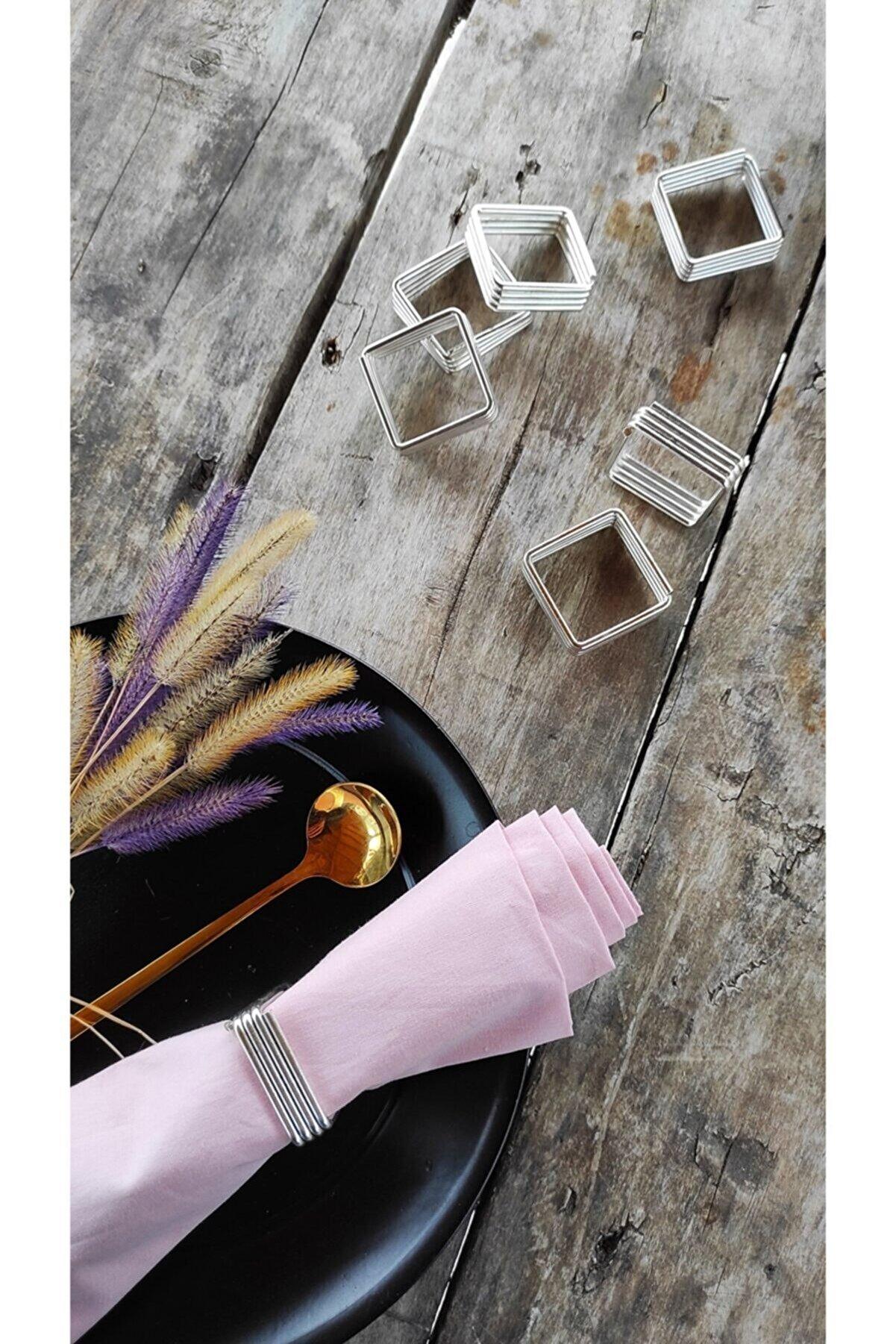 Esafe Home 6'lı Nikel Krom Kaplama Metal Peçete Yüzüğü
