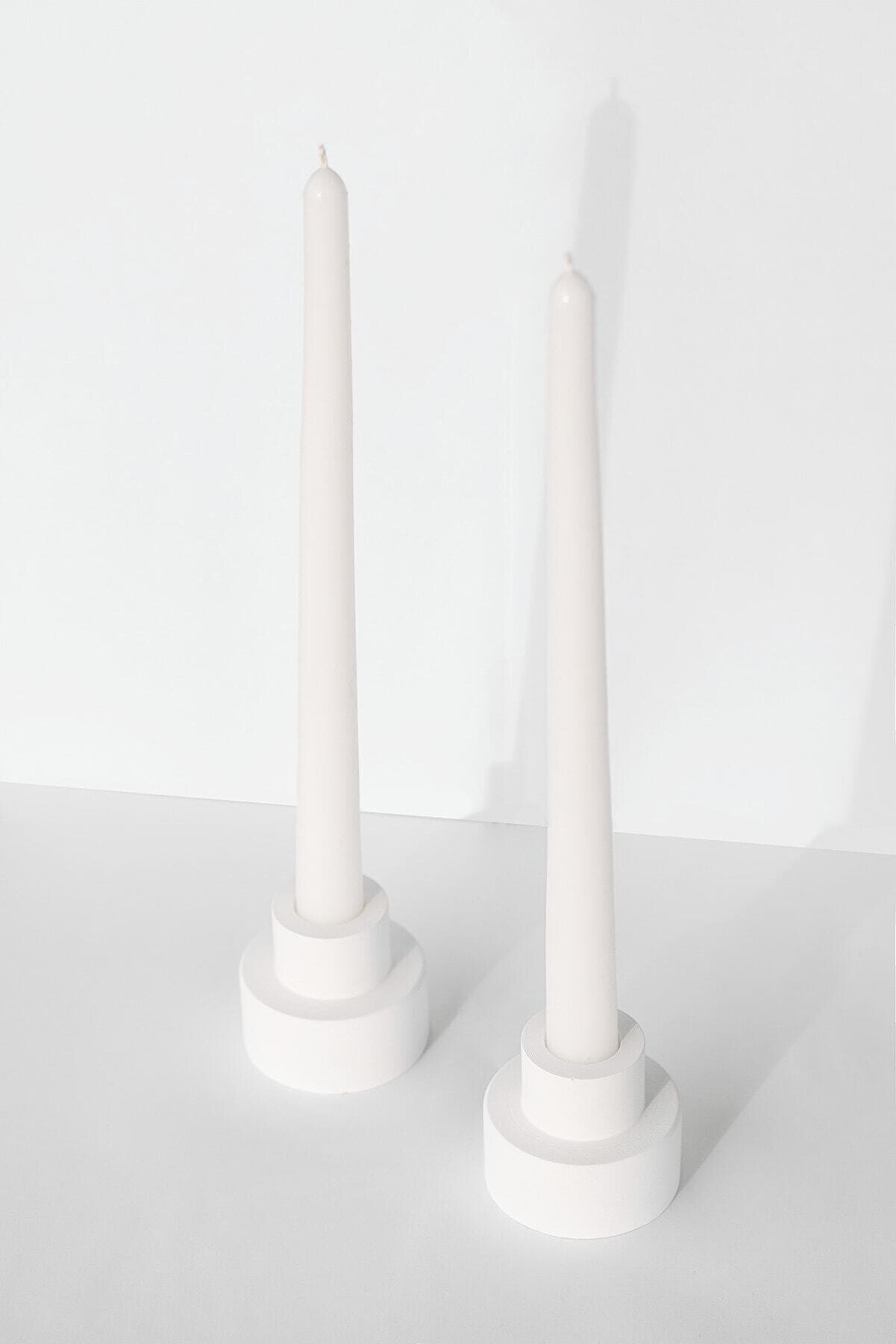 BEIGE Steg 2'li Beyaz Şamdan Mumluk