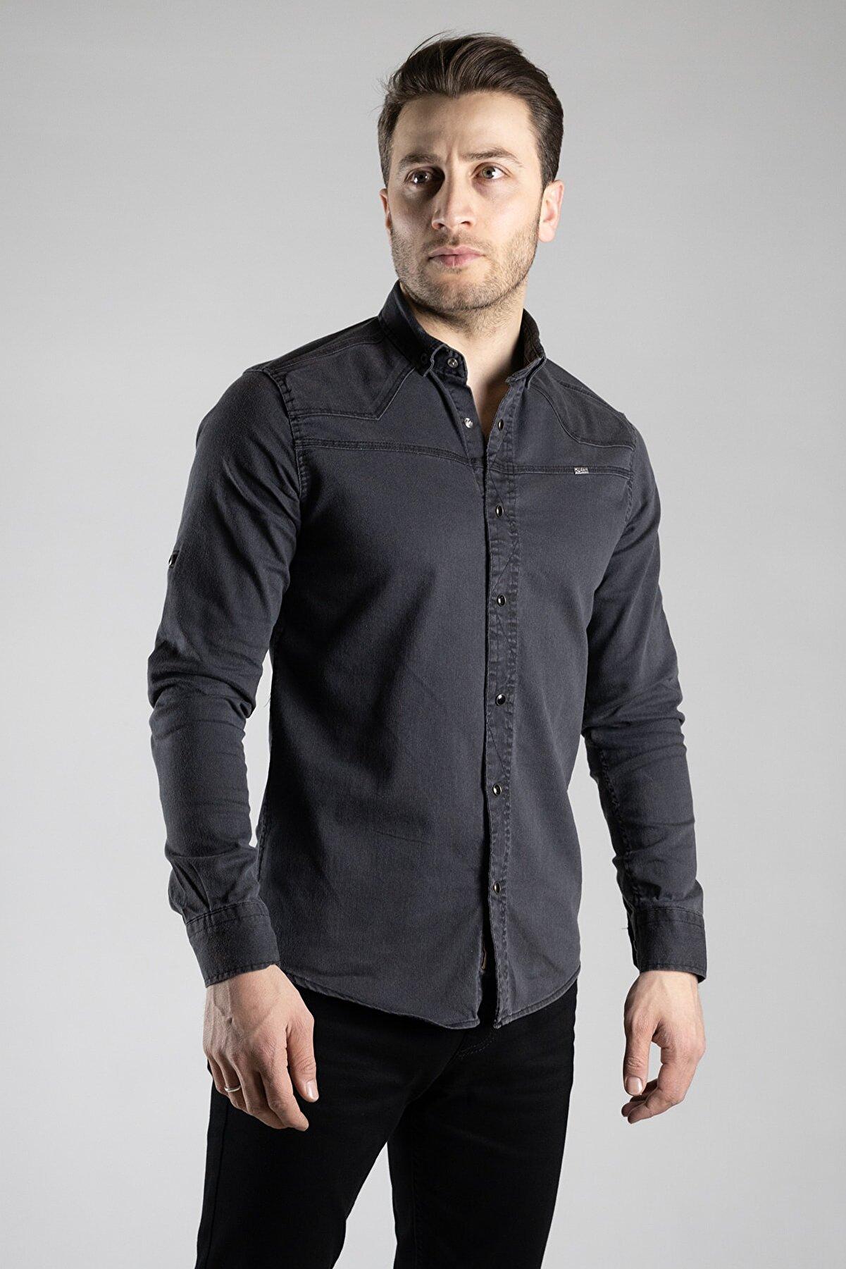 ZEKİ ÖZER Erkek Füme Koton Gömlek