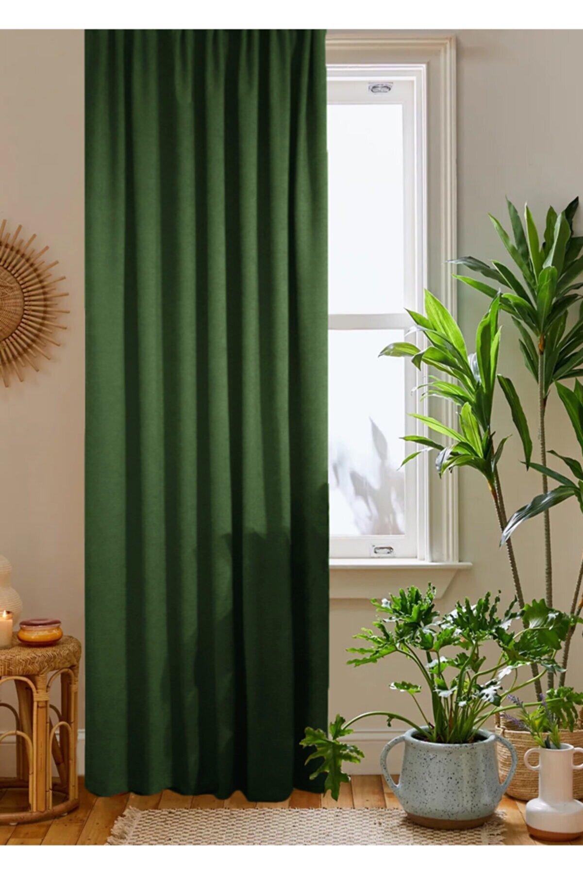 home color home Yeşil Petek Kadife Dokulu Fon Perde Düz Dikişli Ekstrafor Büzgü 1.sınıf Kalite