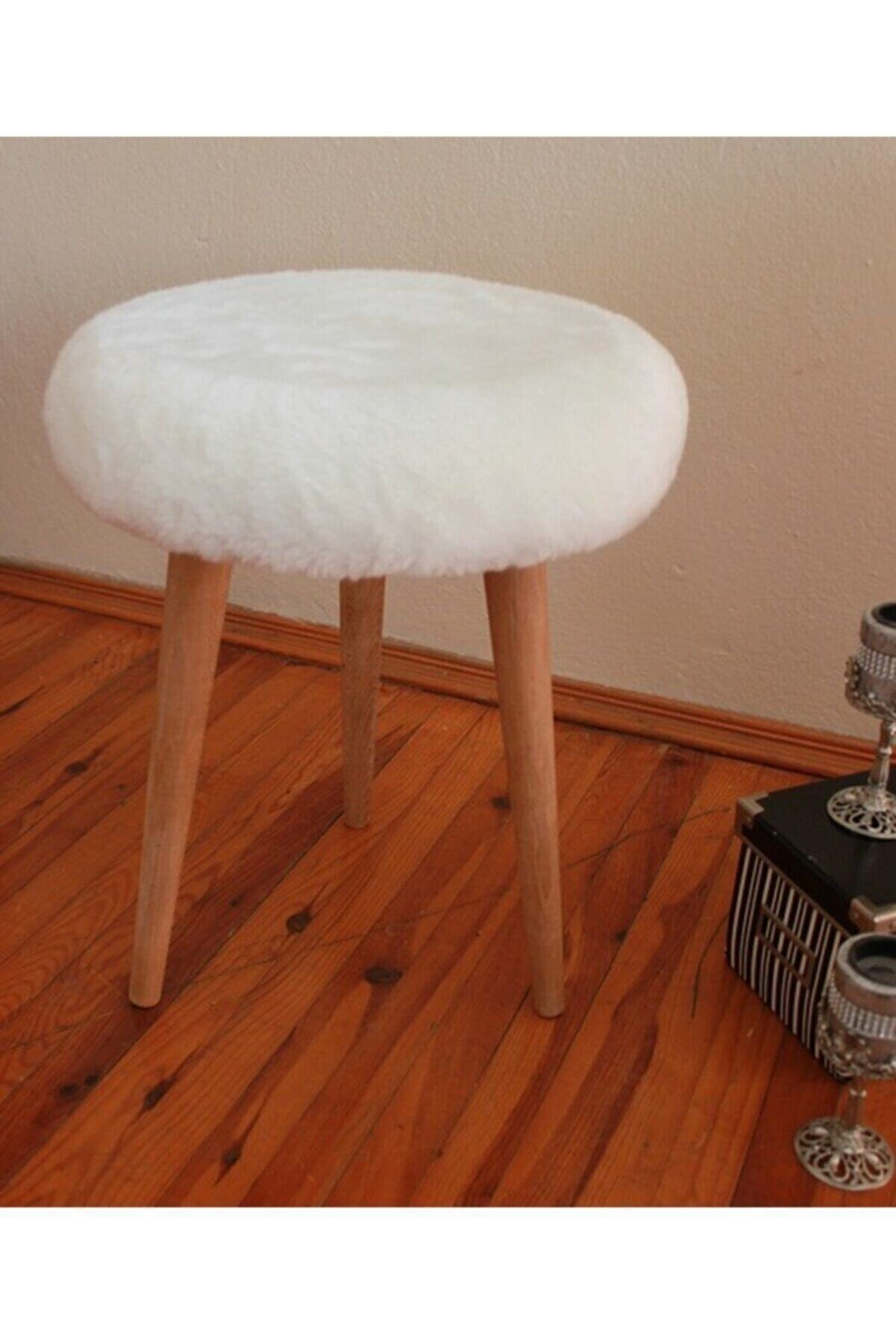 Neta Trade Neta Home Gürgen Ahşap Retro Ayak Dekoratif Beyaz Peluş Puf Tabure Bench Koltuk Sandalye