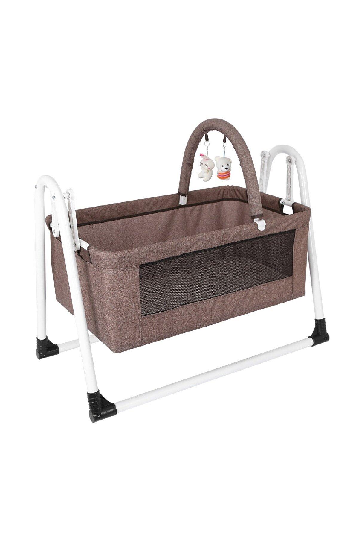 Jimmybaby Jimmy Baby Beşik Yıkanabilir Kumaş Bebek Beşiği Oyuncaklı Portatif Sepet Beşik Kahverengi Beşik