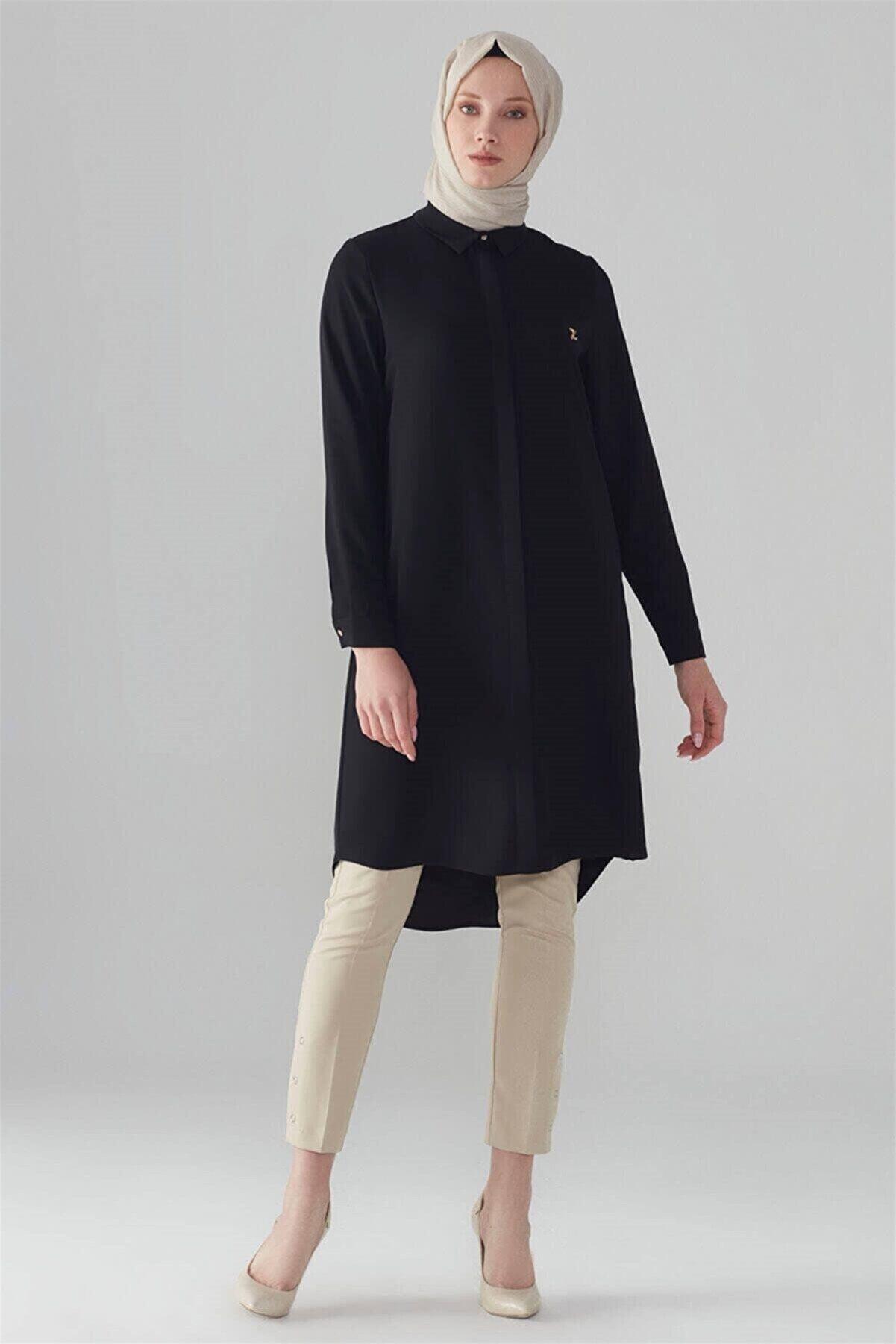 Zühre Gizli Düğme Detaylı Tunik Siyah T-0767