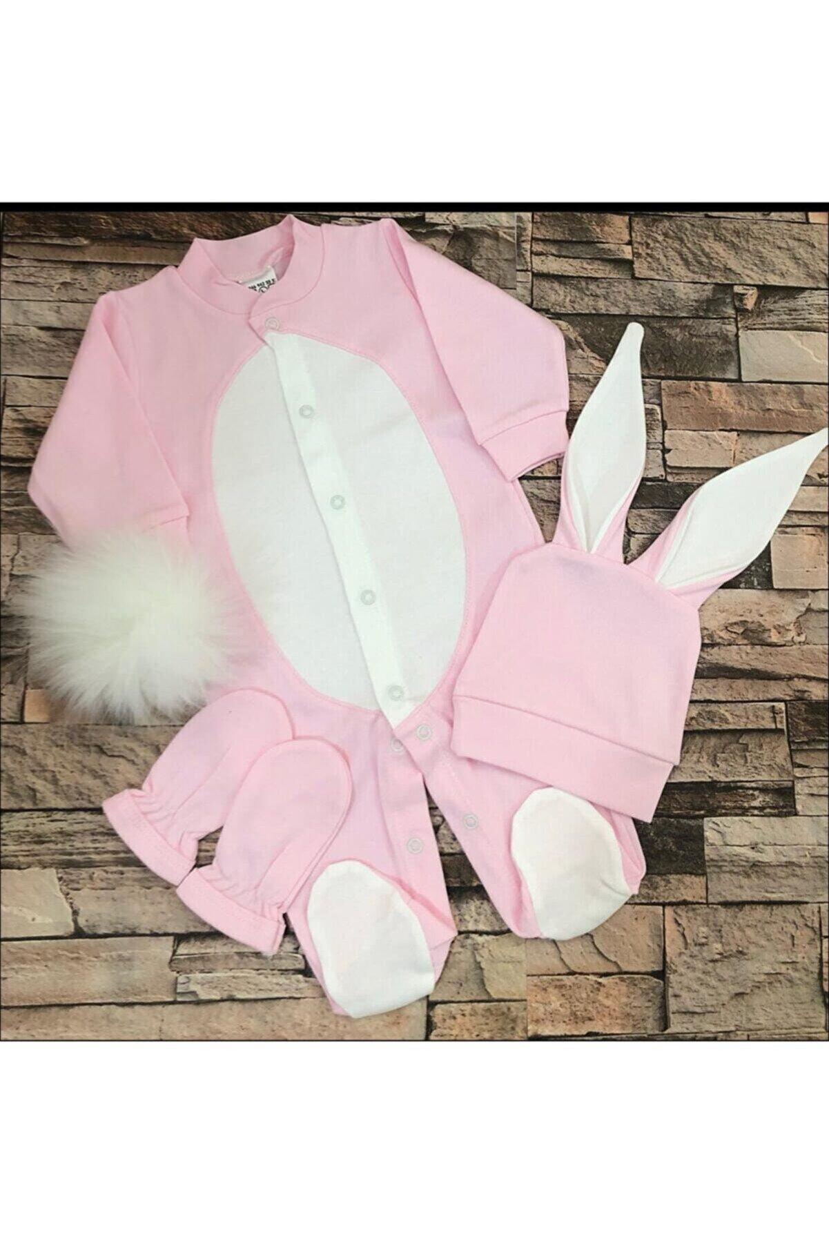 aymira tasarım Unisex Bebek Pembe Tavşanlı Tulum