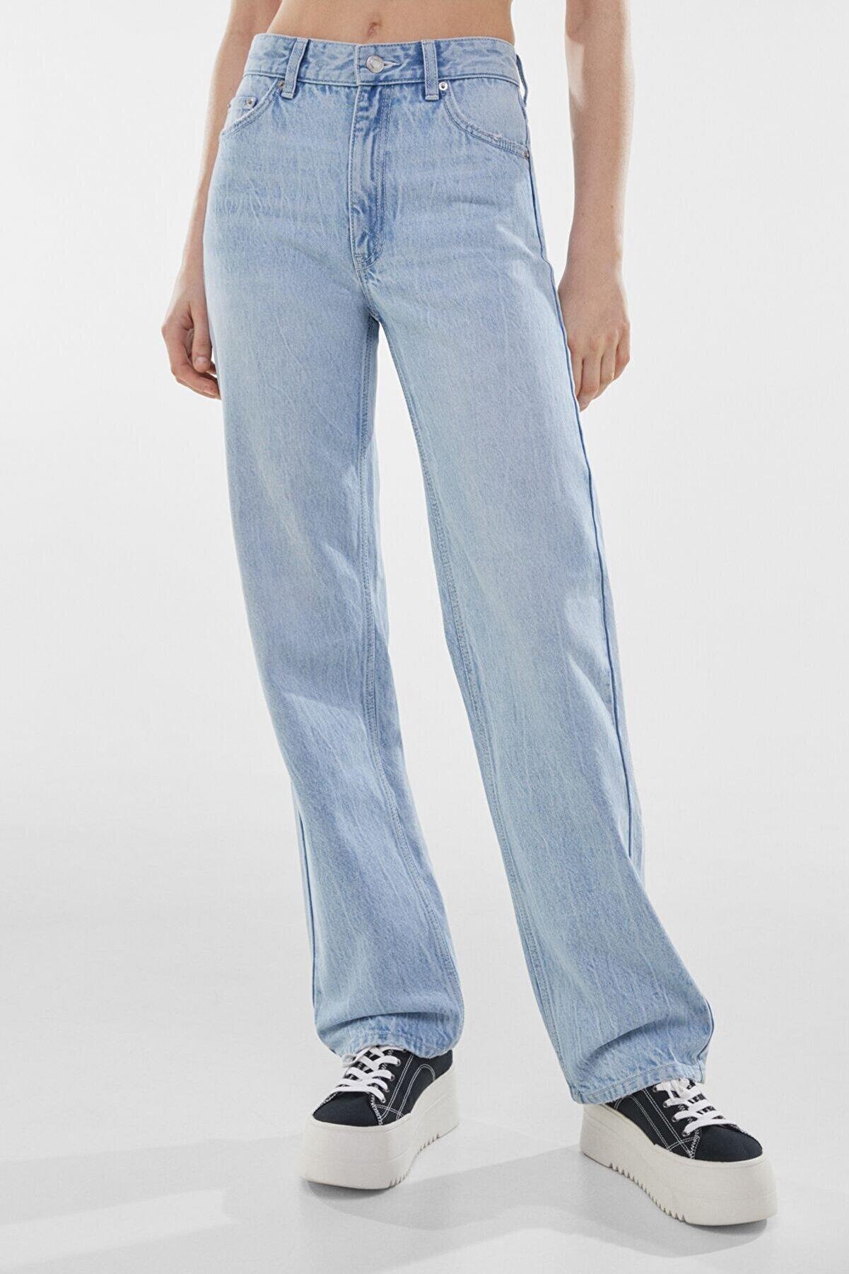 Bershka Kadın Lacivert Straight Fit Yüksek Bel Jean